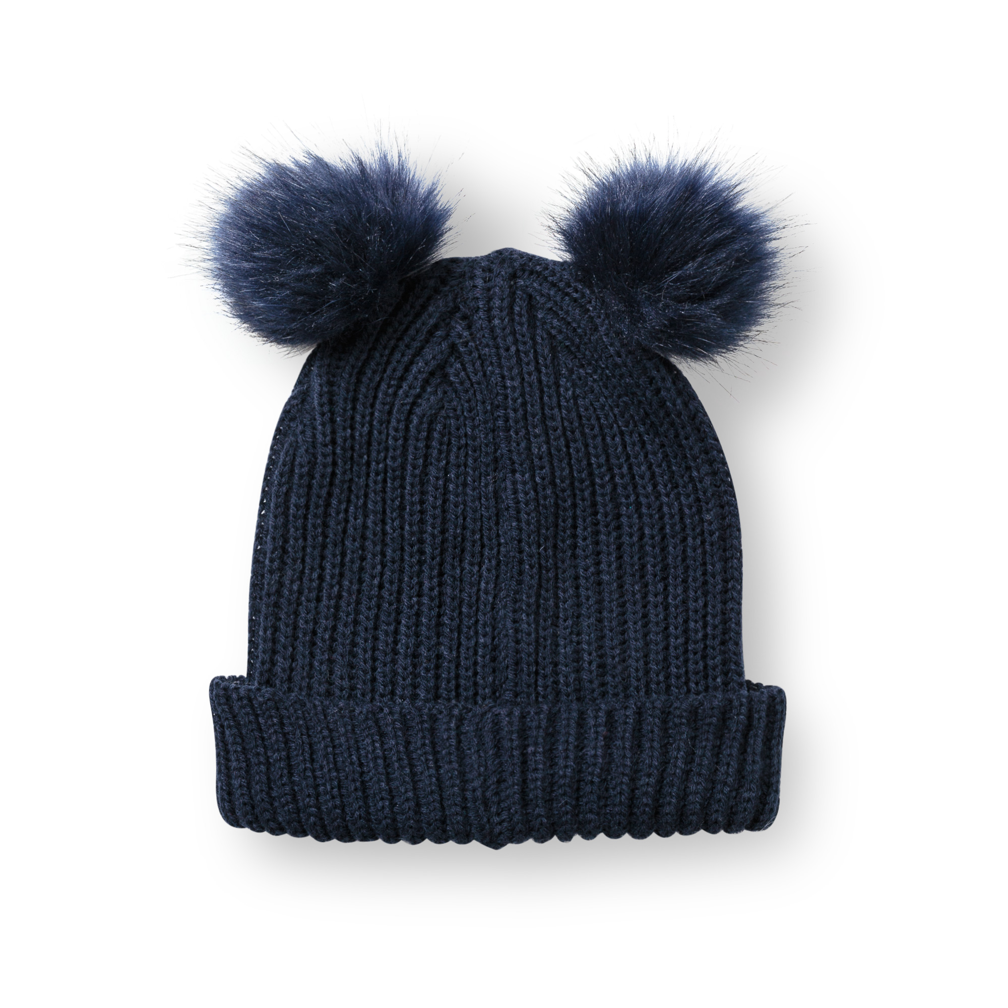 3e3493fb05e Navy Luxe Faux Fur Pom Pom Hat