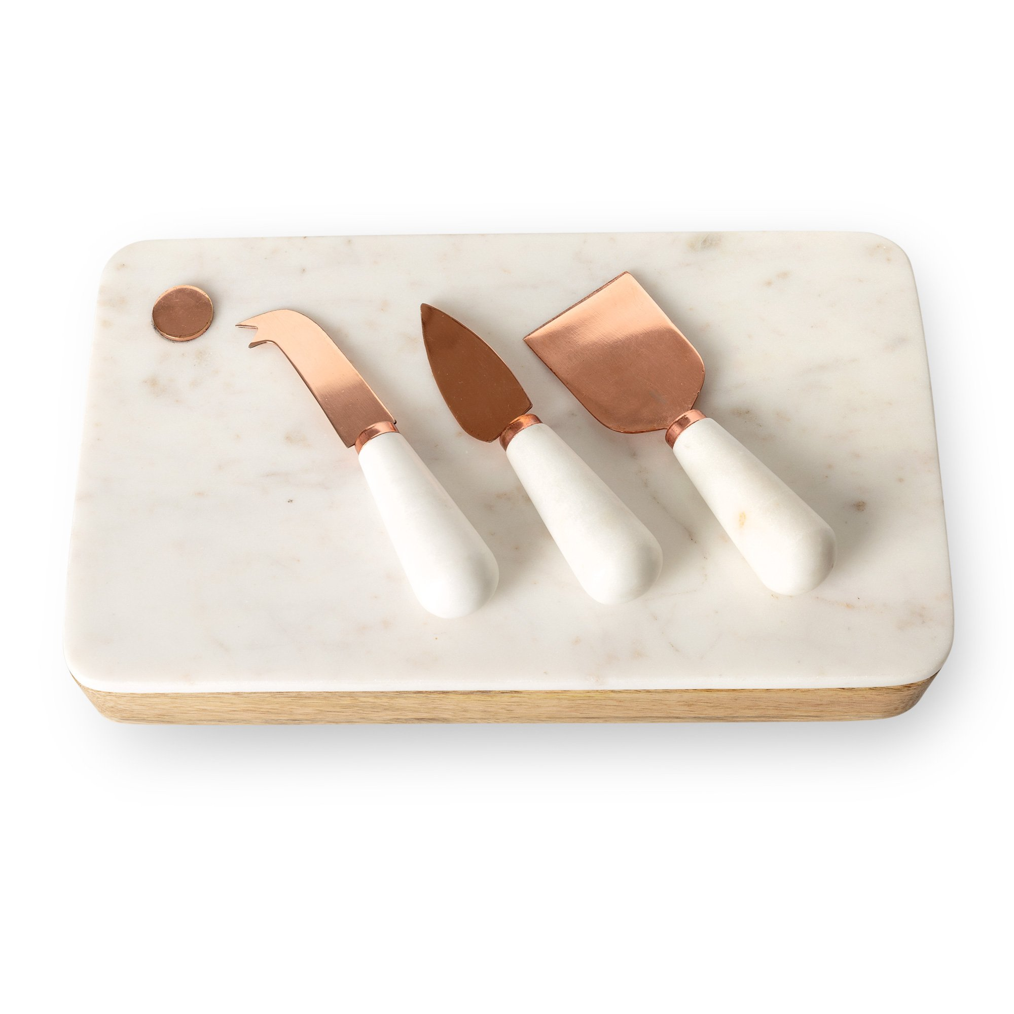 Marble Cheese Board With Set Of Three Knives All