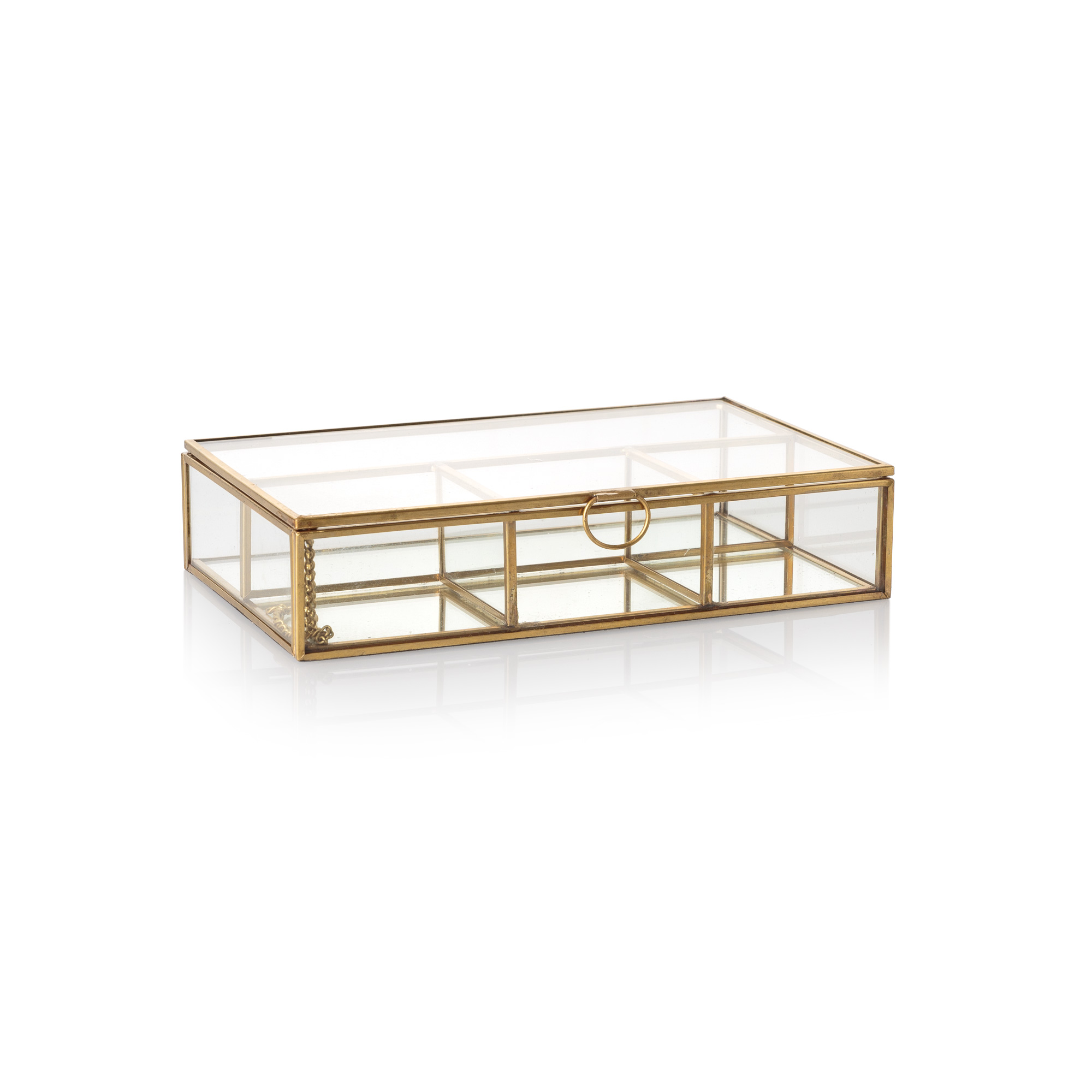 Medium gold glass mirrored jewellery box oliver bonas for Mirror jewelry box