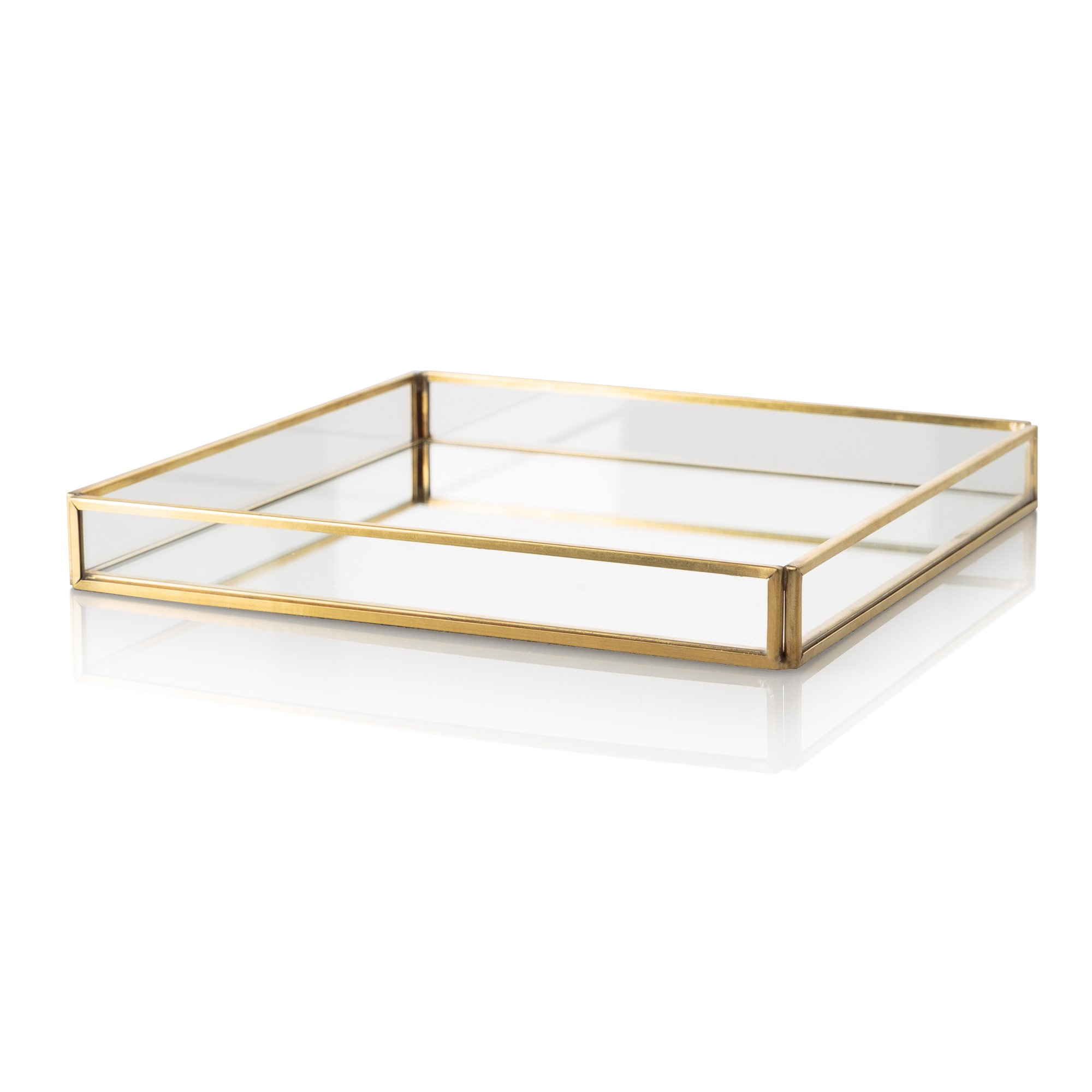 Gold Glass Mirrored Tray Oliver Bonas
