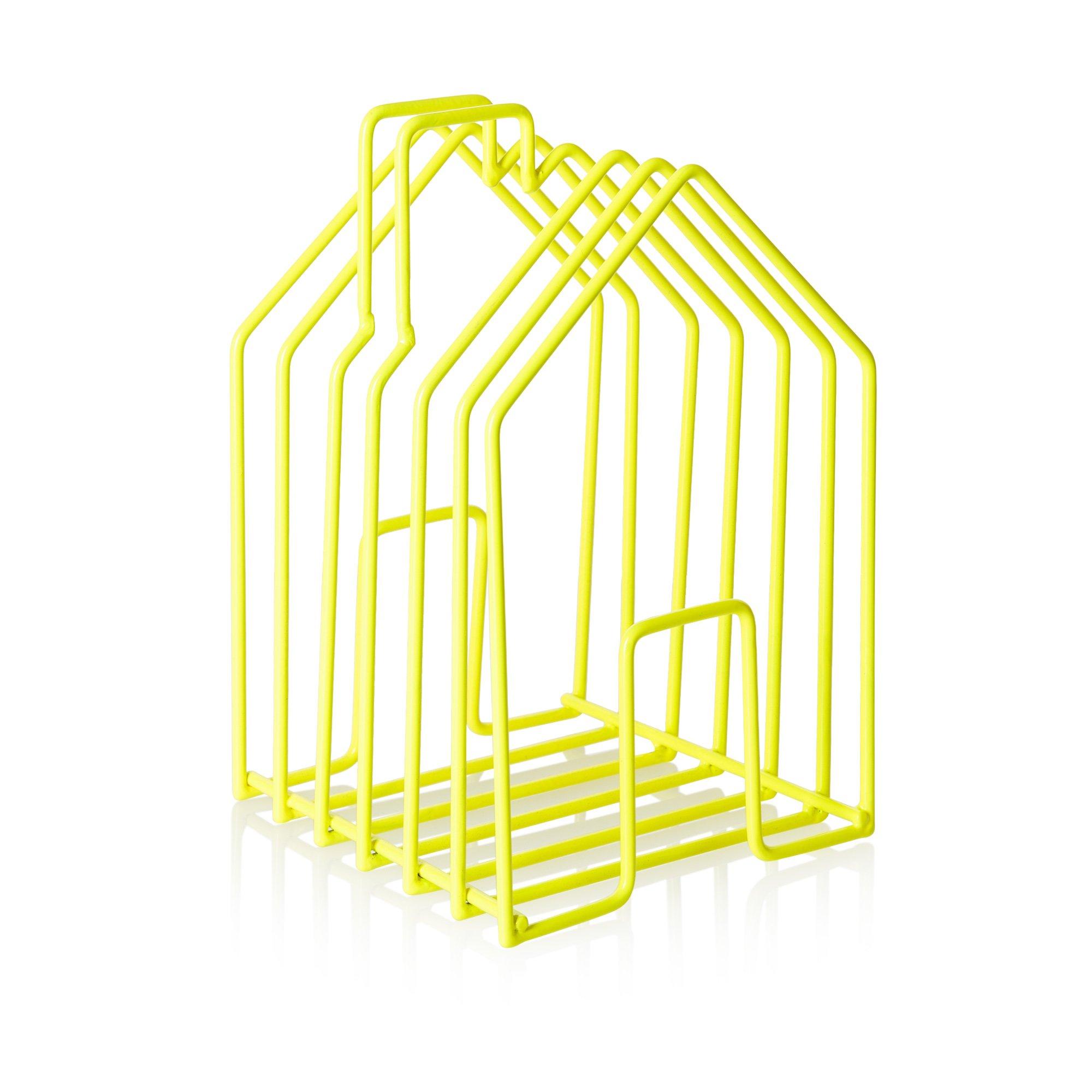 Neon Yellow Wire House Magazine Rack | Oliver Bonas