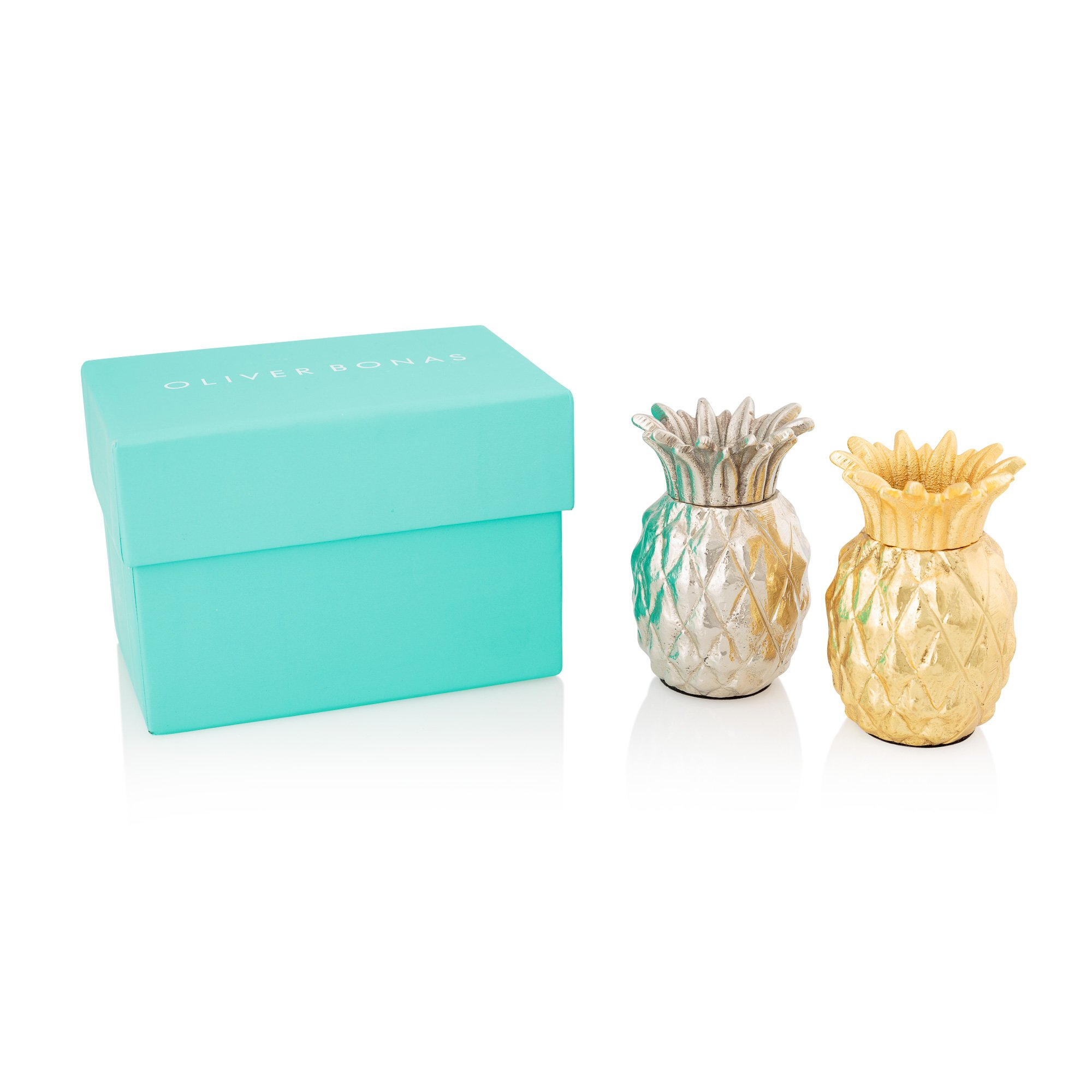 metallic pineapple salt  pepper shakers  all  oliver bonas -