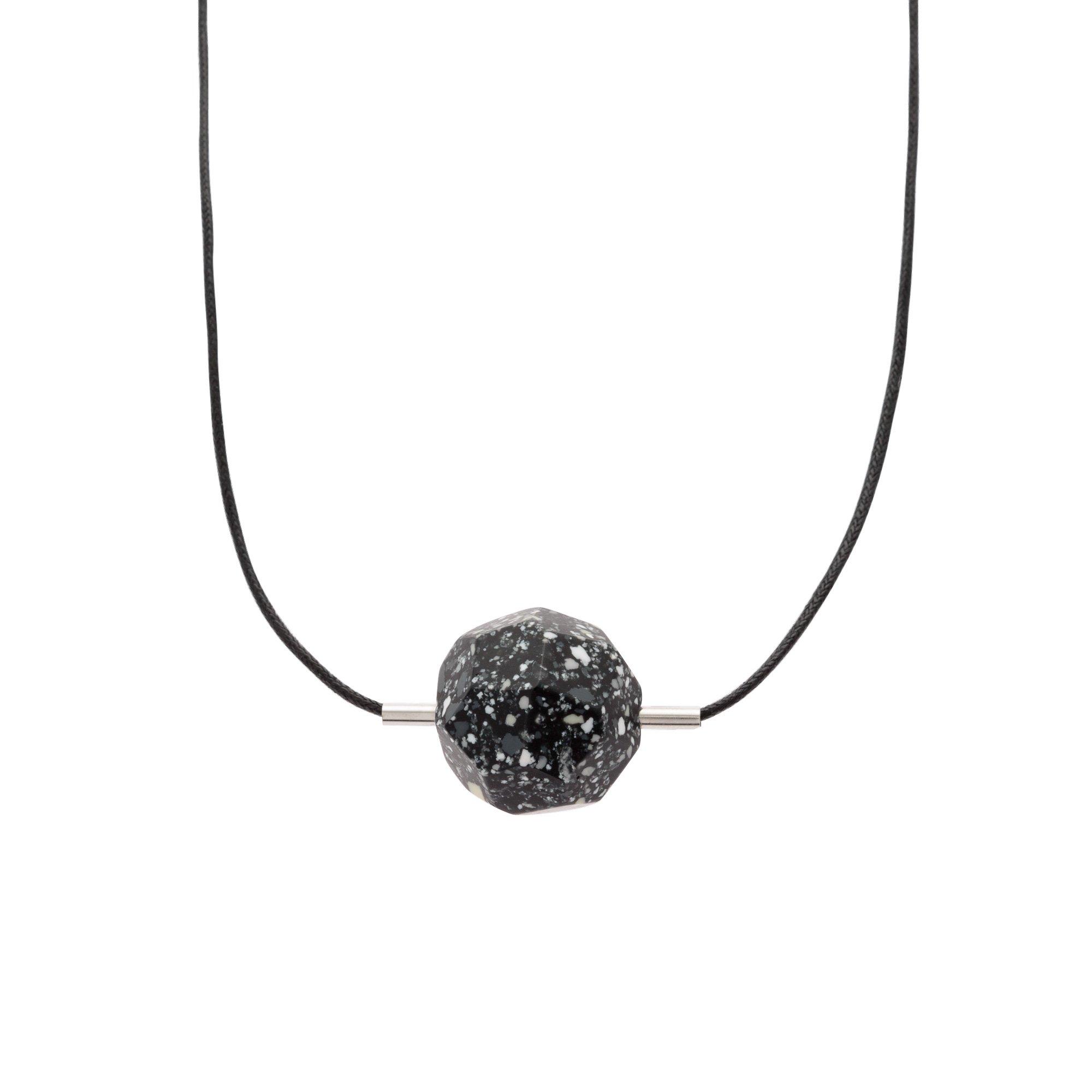Black geo meteorite pendant necklace oliver bonas aloadofball Image collections