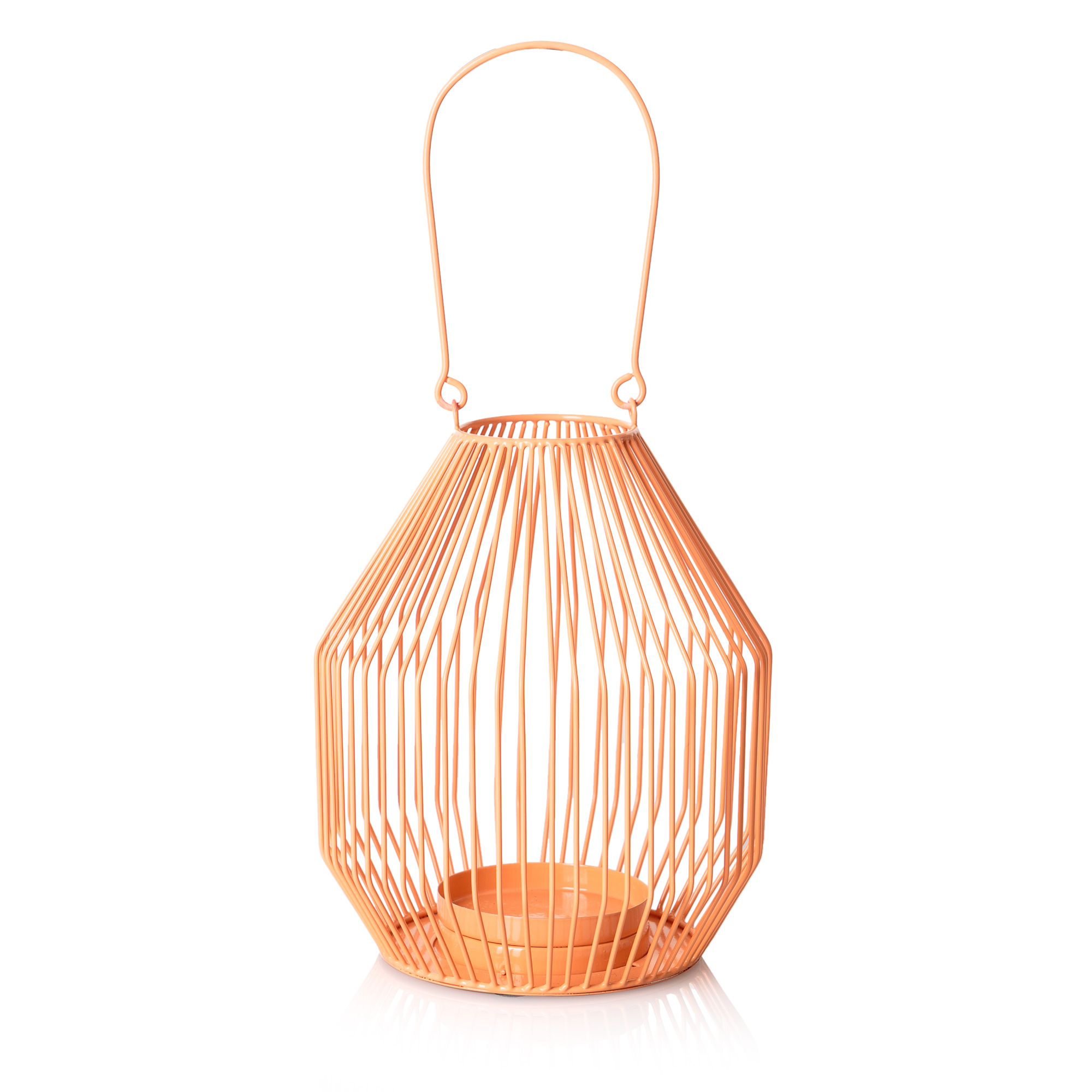 Coral bulb wire pillar candle lantern oliver bonas for Wire candle lantern