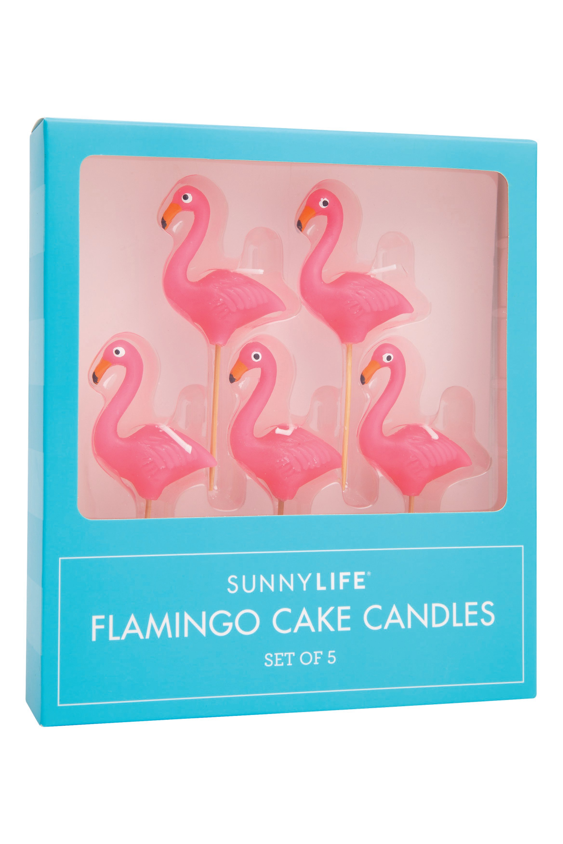 Set Of Five Flamingo Cake Candles