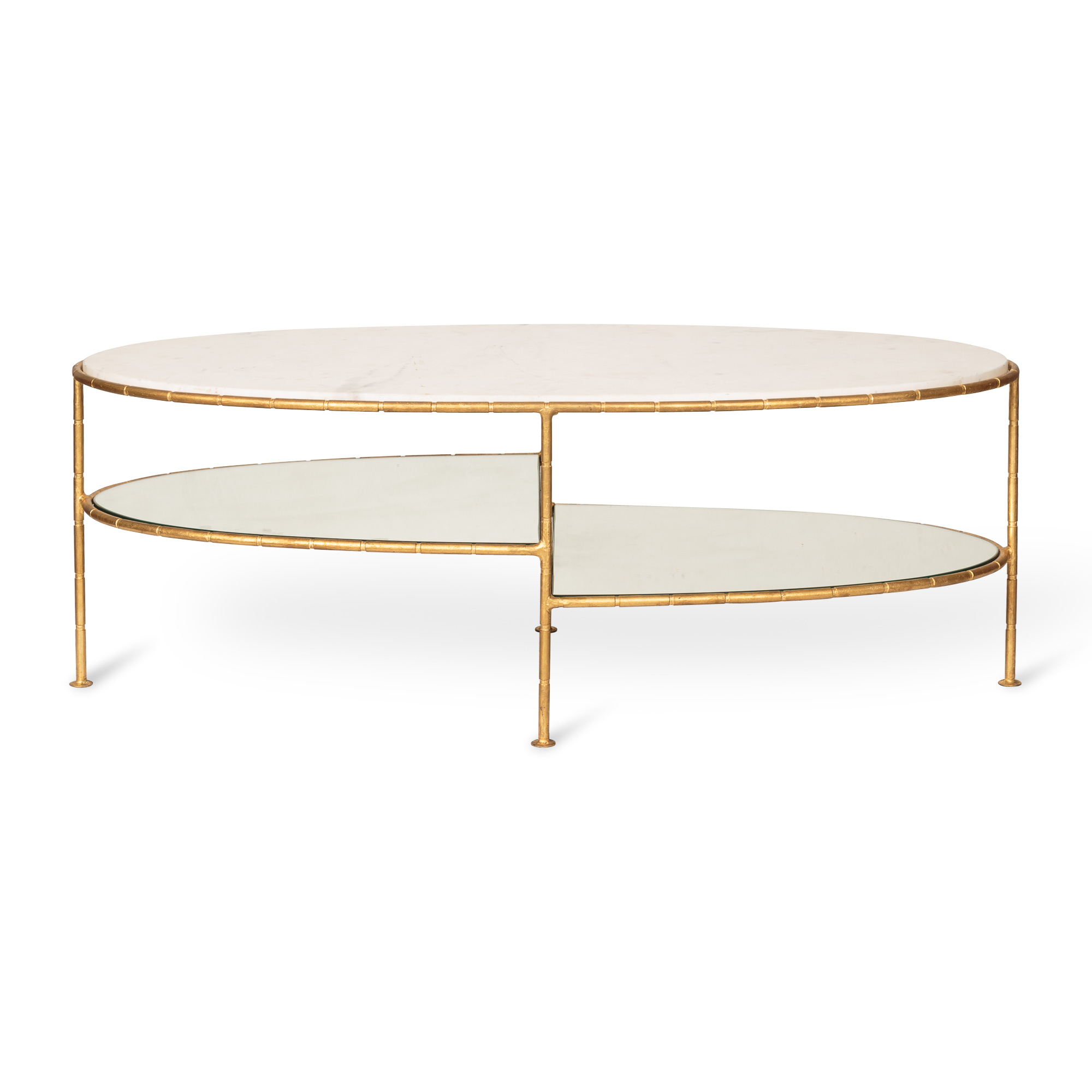 White Luxe Three Oval Bamboo Coffee Table Oliver Bonas