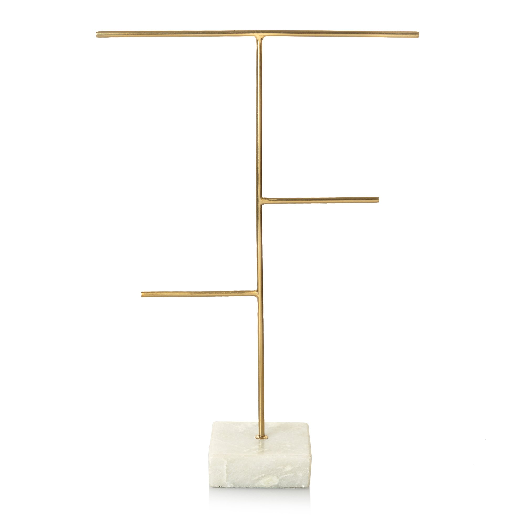 Three arm gold marble base jewellery stand oliver bonas for Sawyer marble jewelry stand
