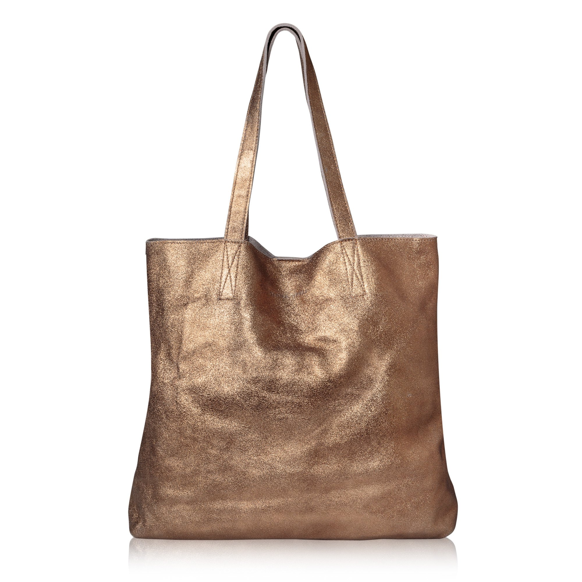 Metallic Copper Crackle Leather Shopper Bag | Oliver Bonas