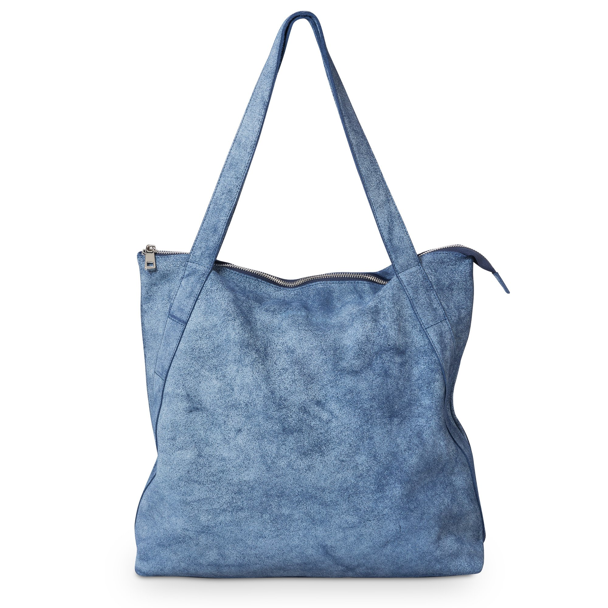 Blue Denim Leather Shopper Bag | Oliver Bonas