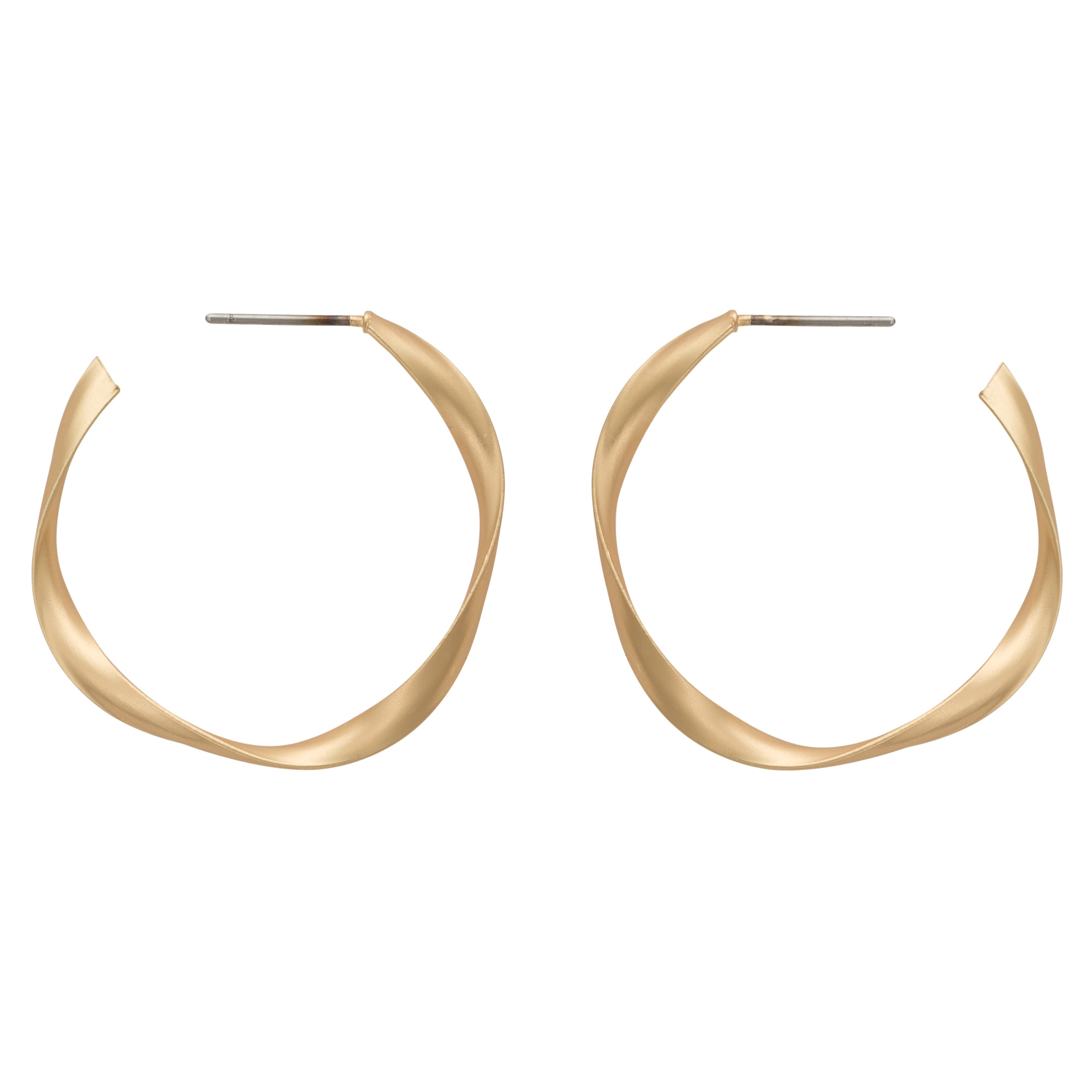 Gold Patti Matte Twist Hoop Earrings | Oliver Bonas