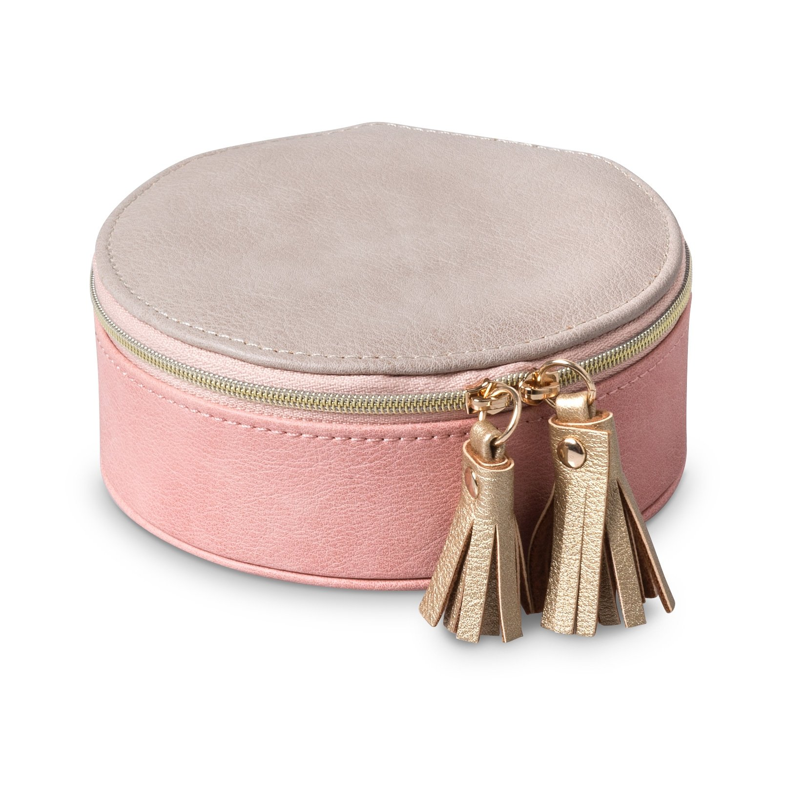 Pink Nellie Small Round Travel Jewellery Box