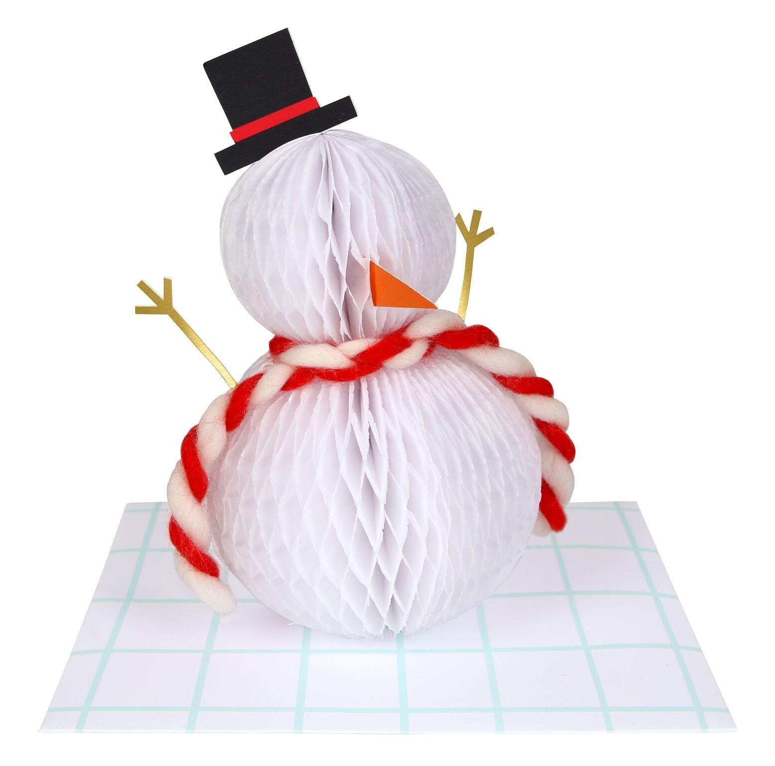 72932f9ae5a8a 3D Honeycomb Snowman Christmas Card