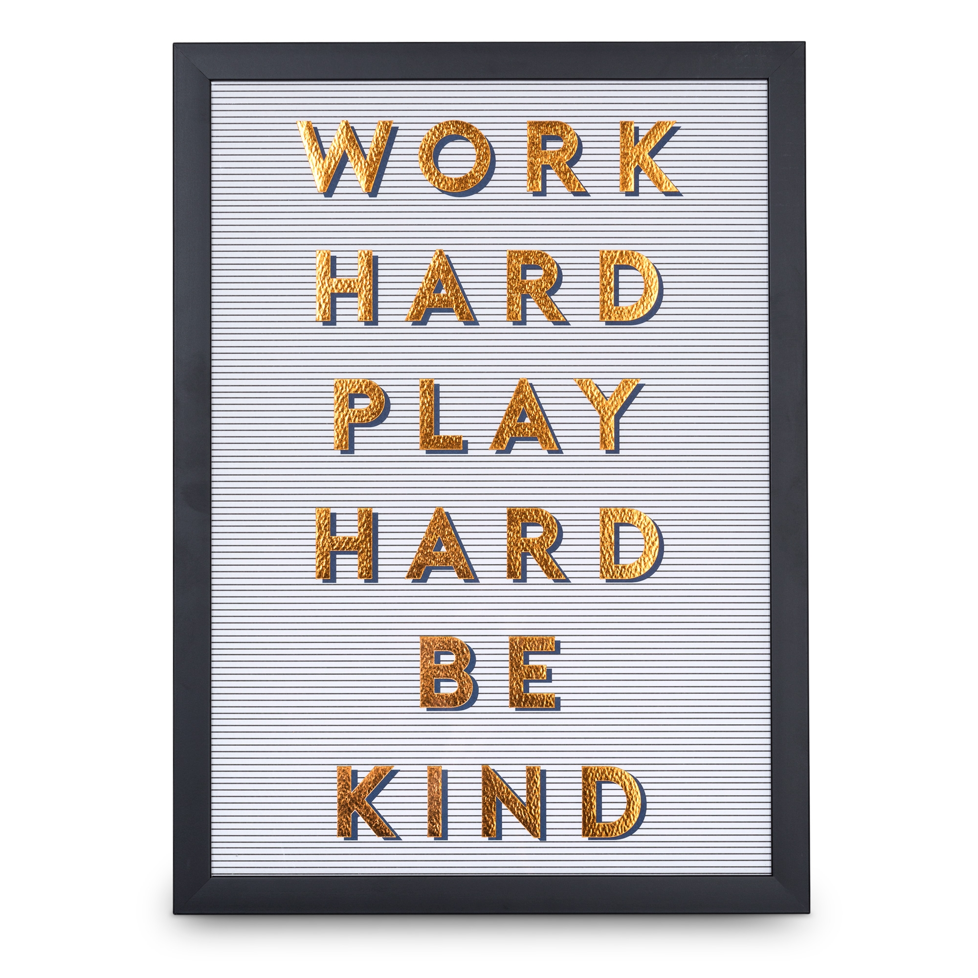 Work Hard Play Hard Amp Be Kind Copper Foiled Wall Art
