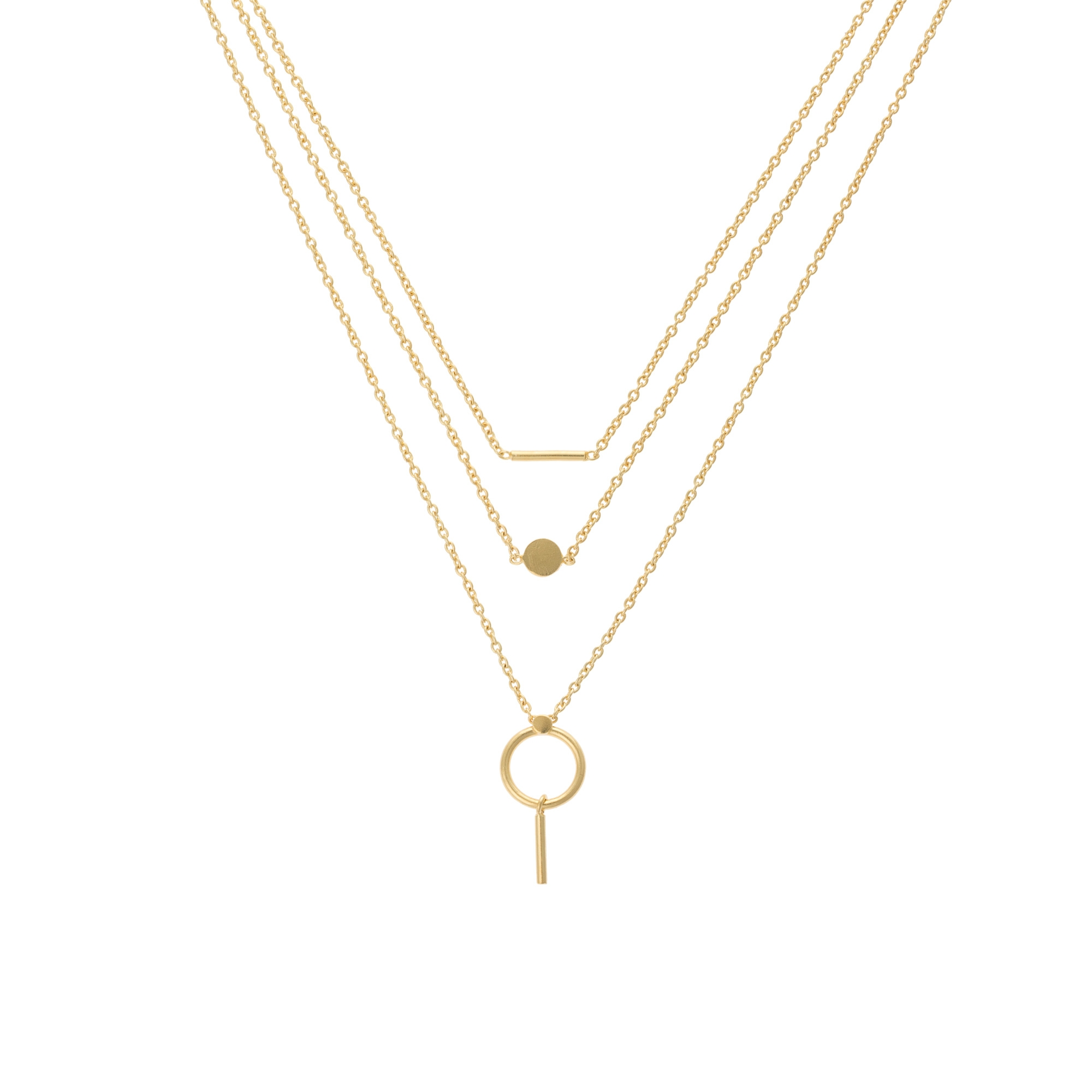 elverta mixed charm three row necklace oliver bonas