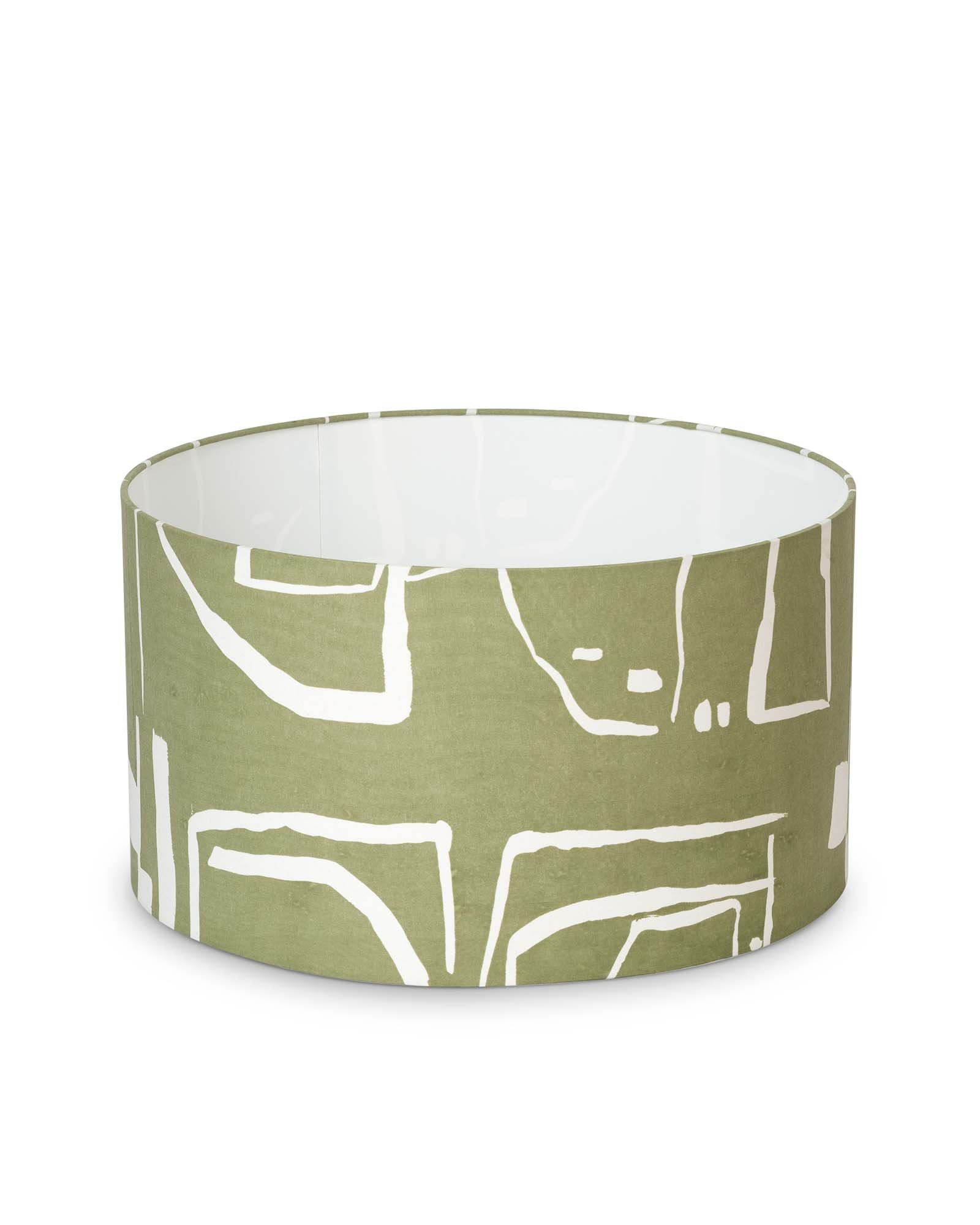 Patterned Green Drum Lampshade