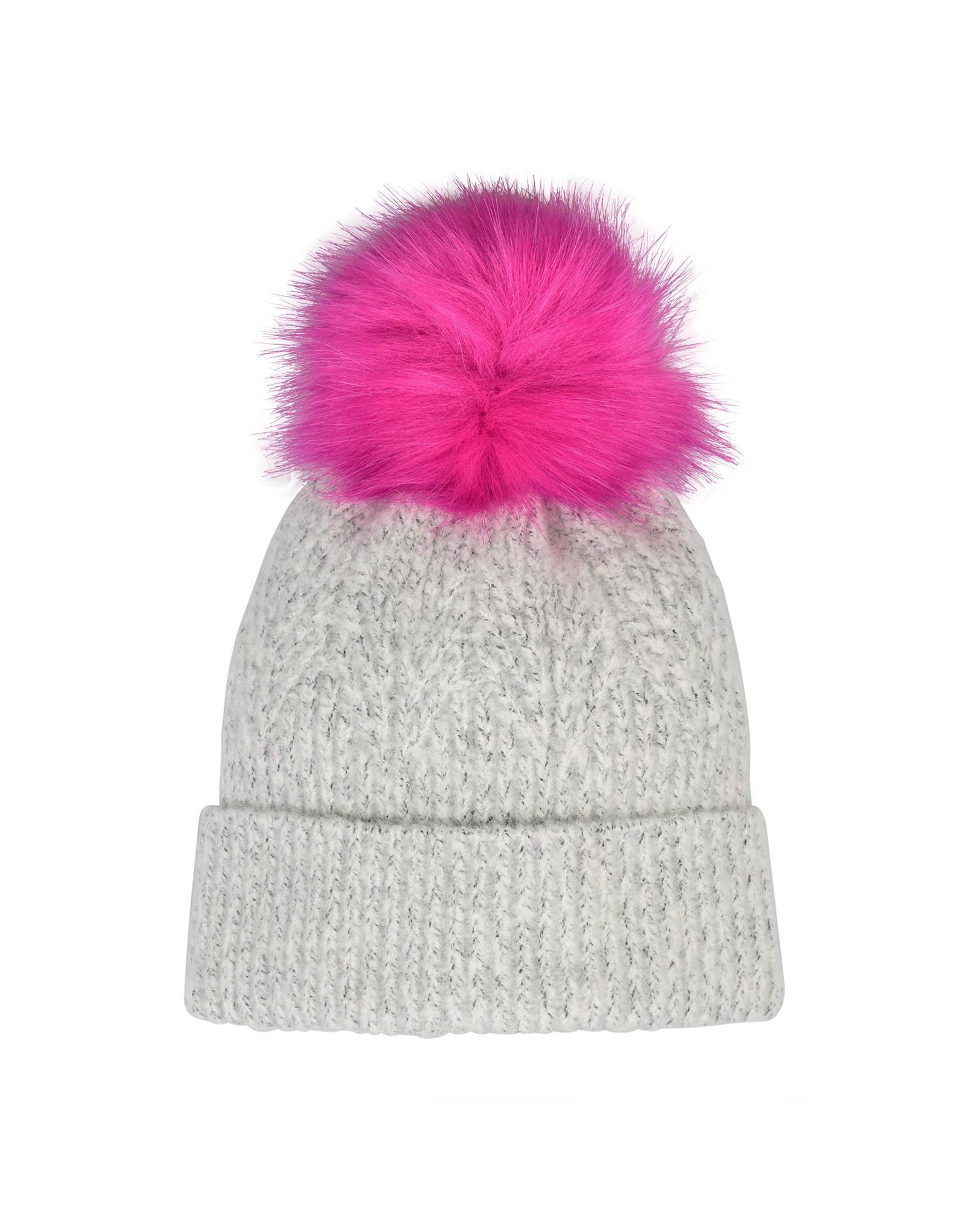 c5237011c Leaf Knit Faux Fur Pom Grey & Pink Beanie Hat