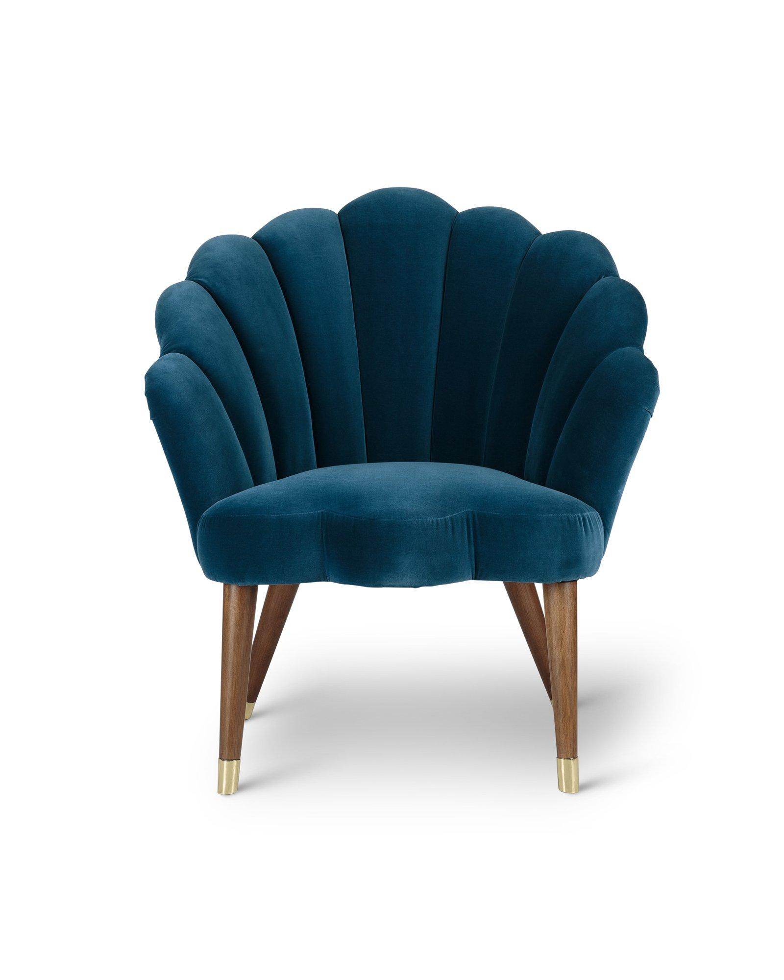 Flora Scalloped Azure Blue Velvet Armchair