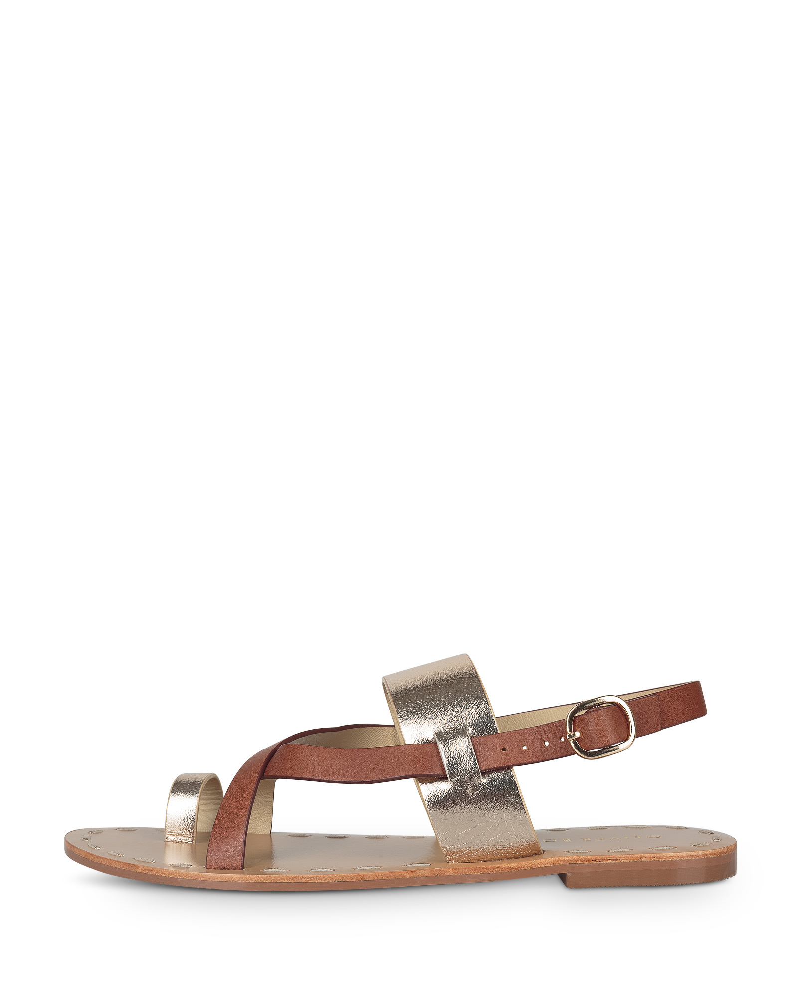 Leather Toe Post Gold \u0026 Brown Sandals