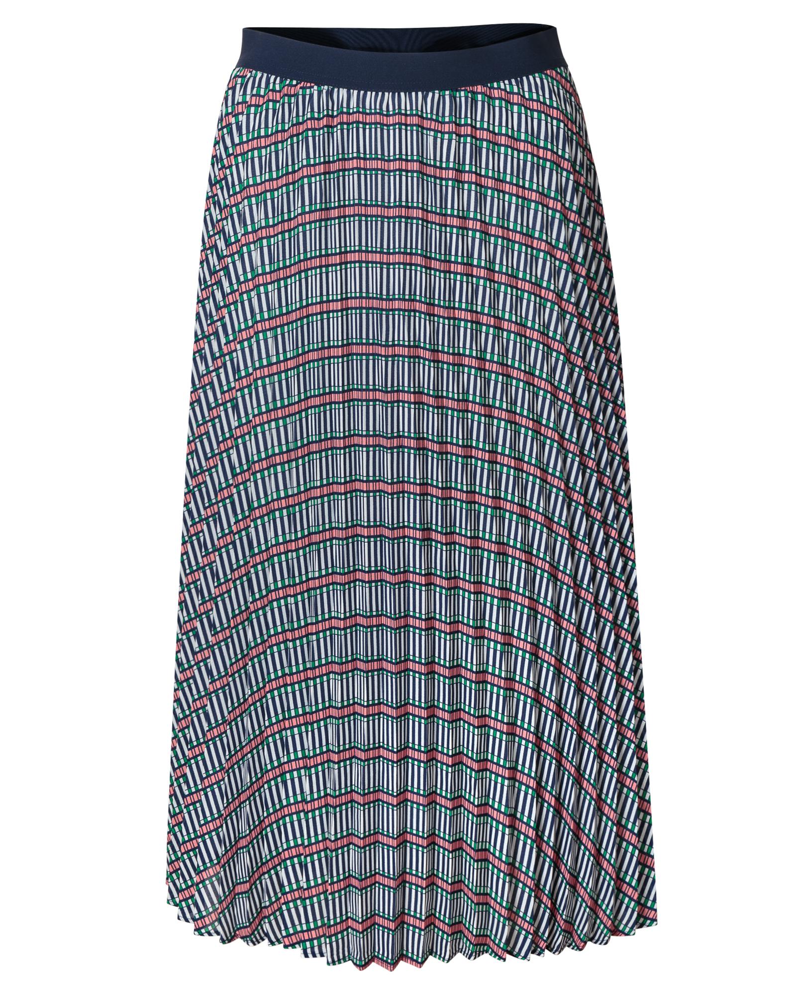 392f298f0c Explore Print Navy Pleated Midi Skirt | Oliver Bonas
