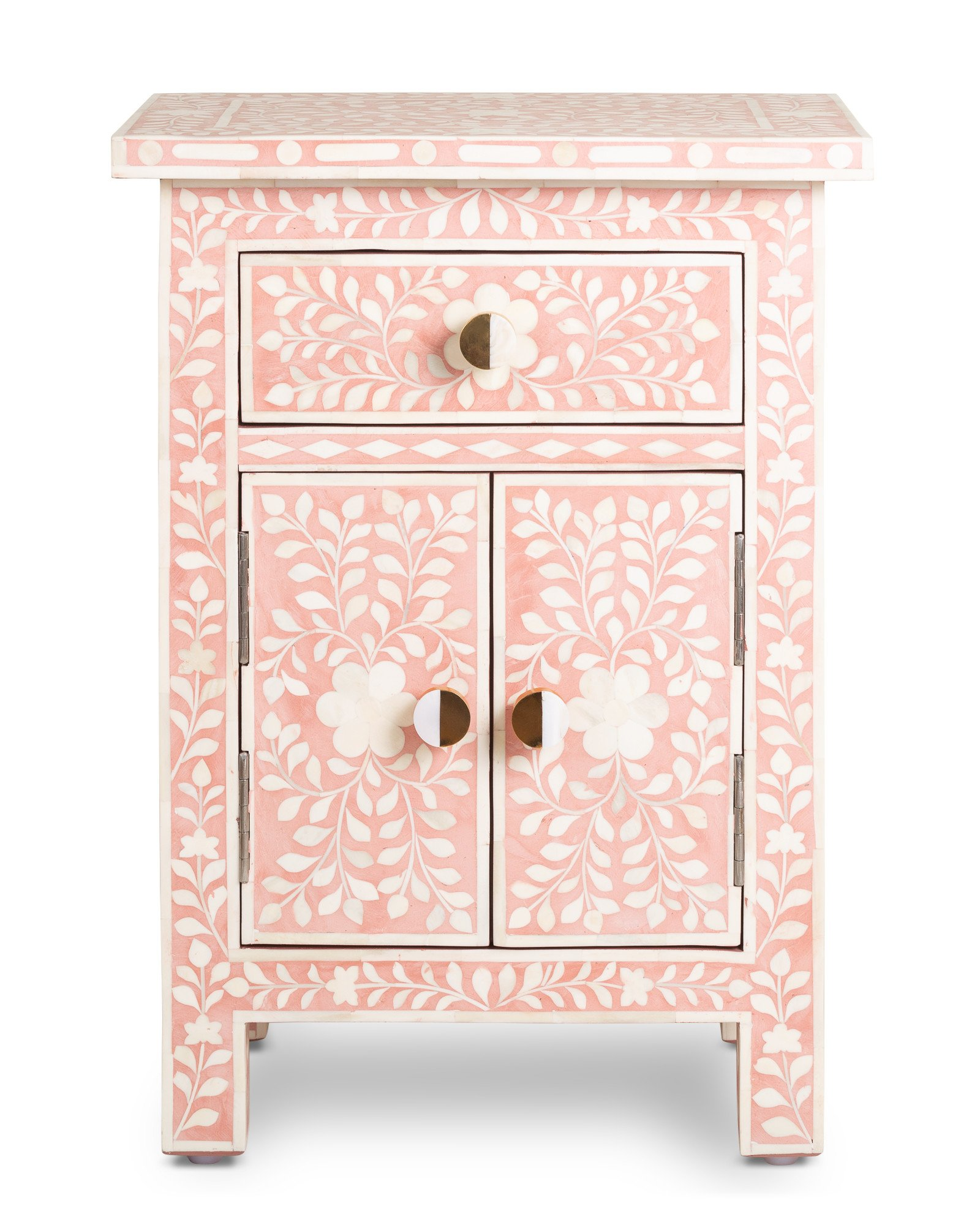 Lohko Floral Inlay Pink Bedside Table
