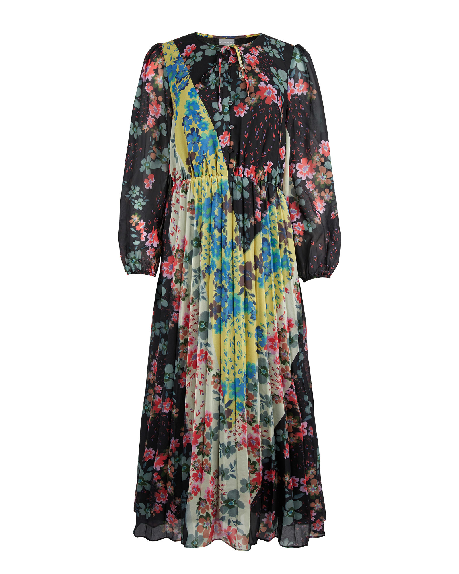Chevron Patched Floral Pleated Midi Dress