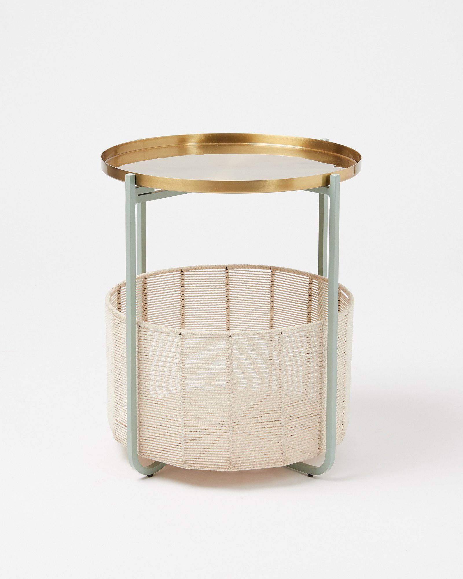 Picture of: Iggy Green Gold Metal Storage Side Table Oliver Bonas