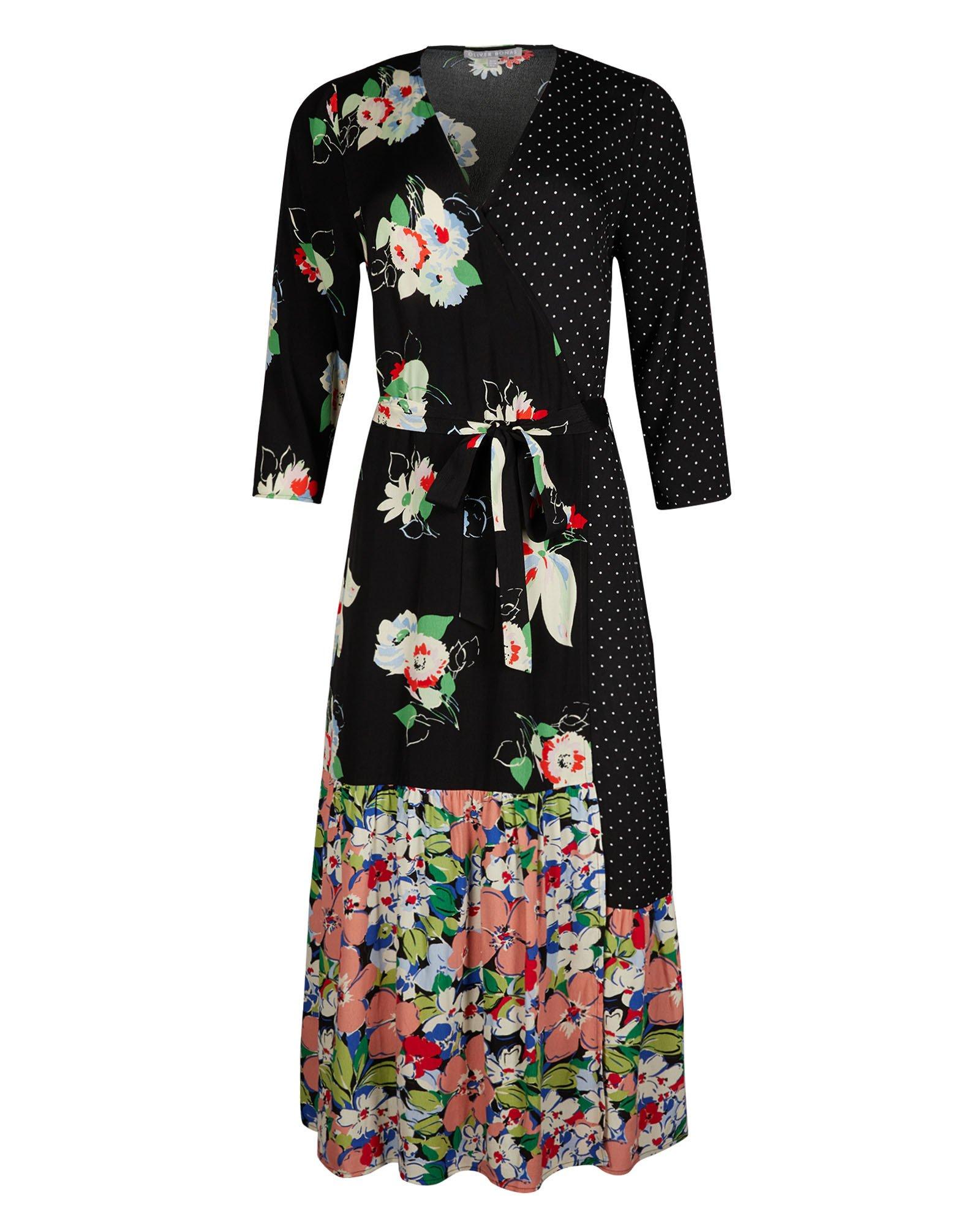 Patched Floral Print & Polka Dot Black Midi Wrap Dress