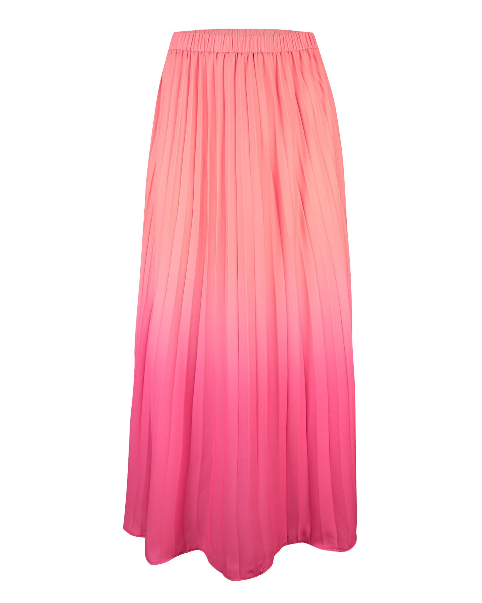 Ombre Pink Pleated Midi Skirt