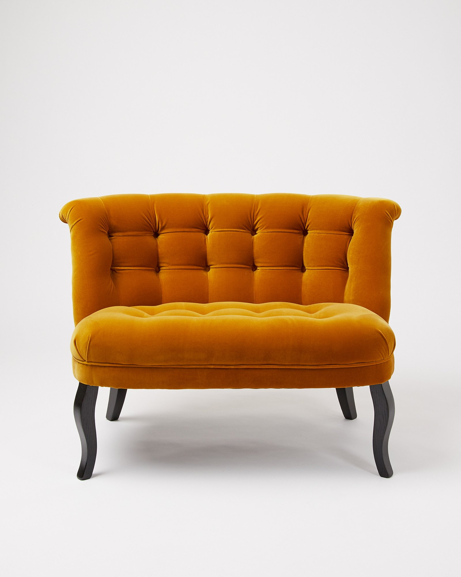 Velvet Saffron Yellow Loveseat