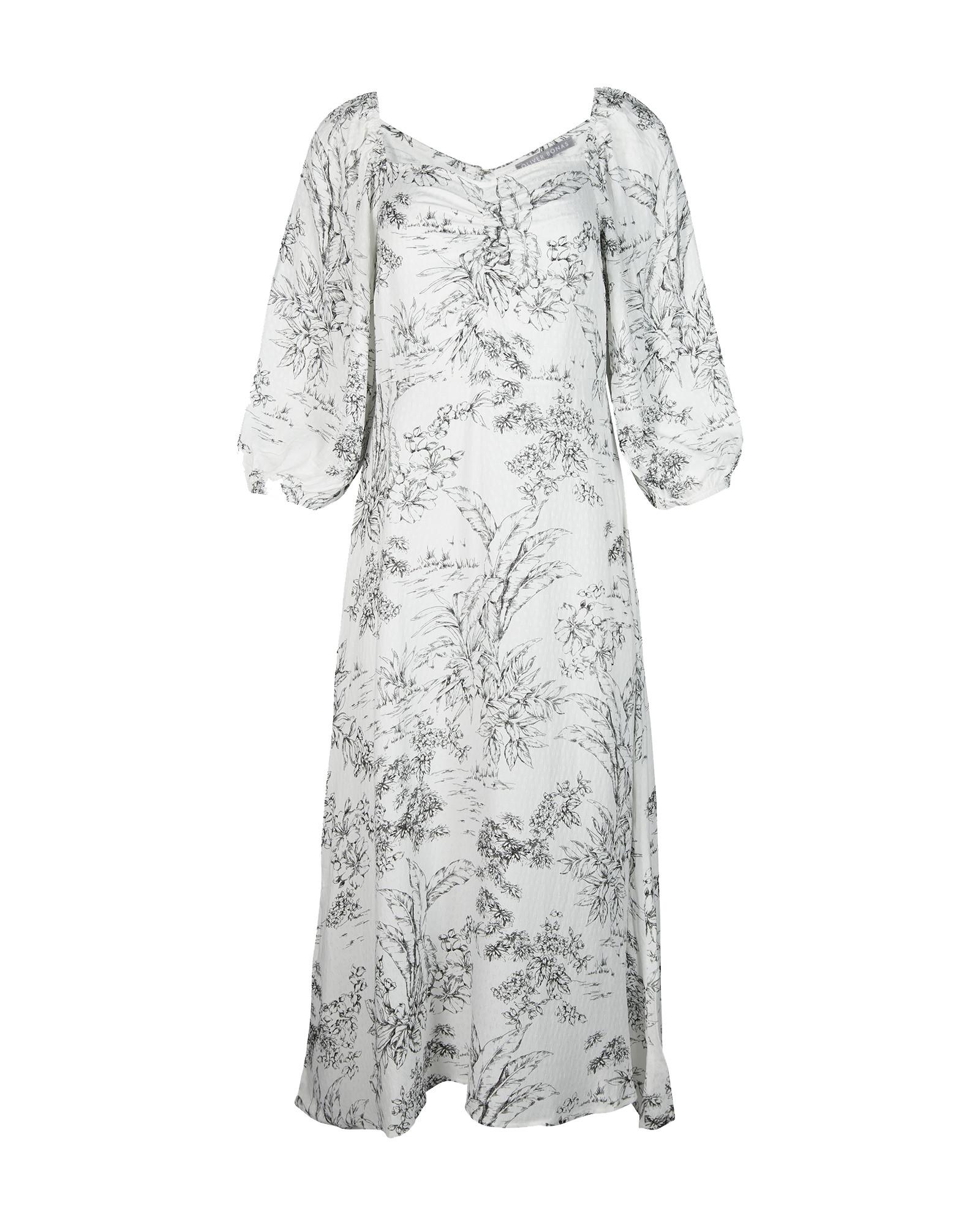 Toile Print White Midi Dress