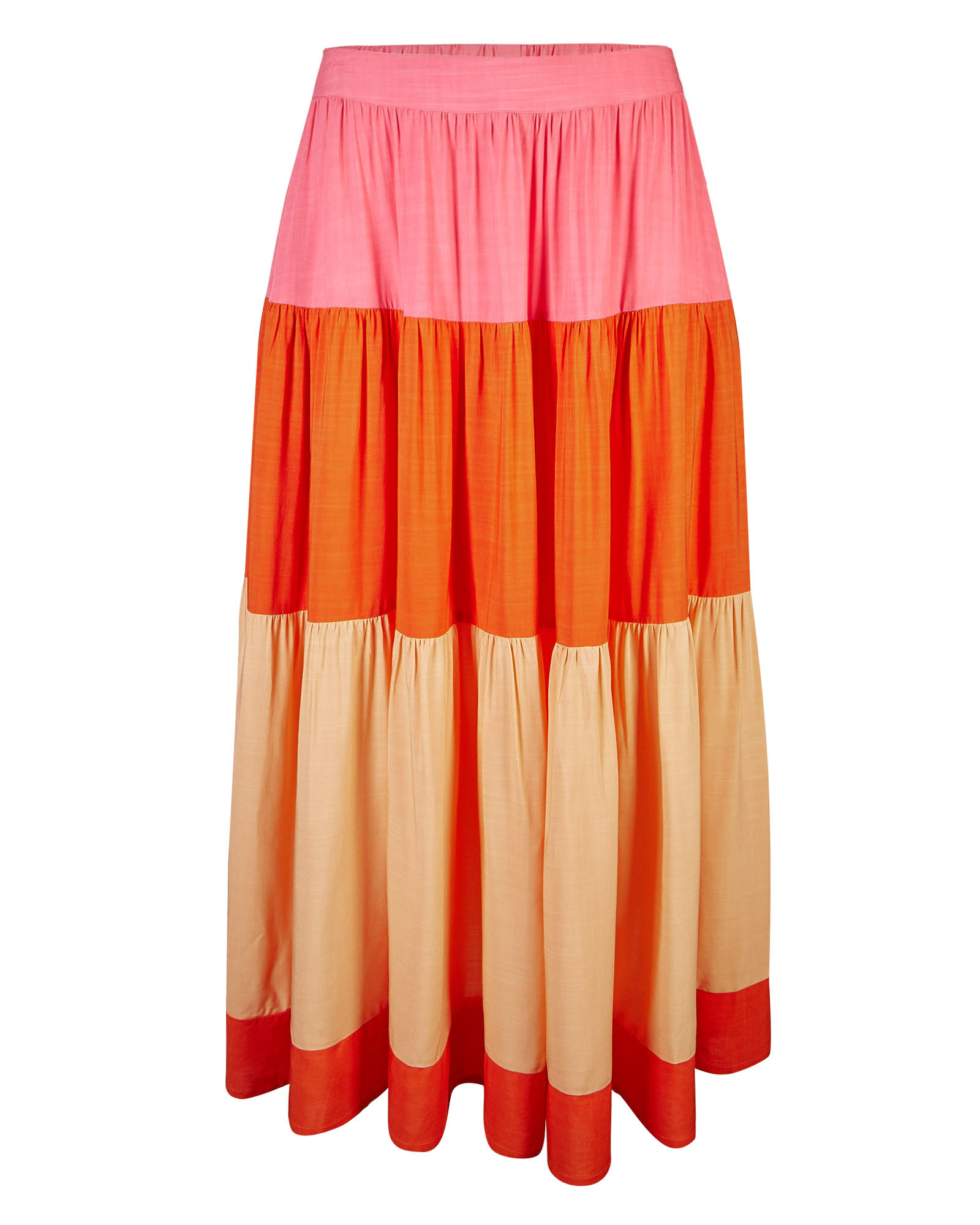 Colour Block Pink Tiered Midi Skirt