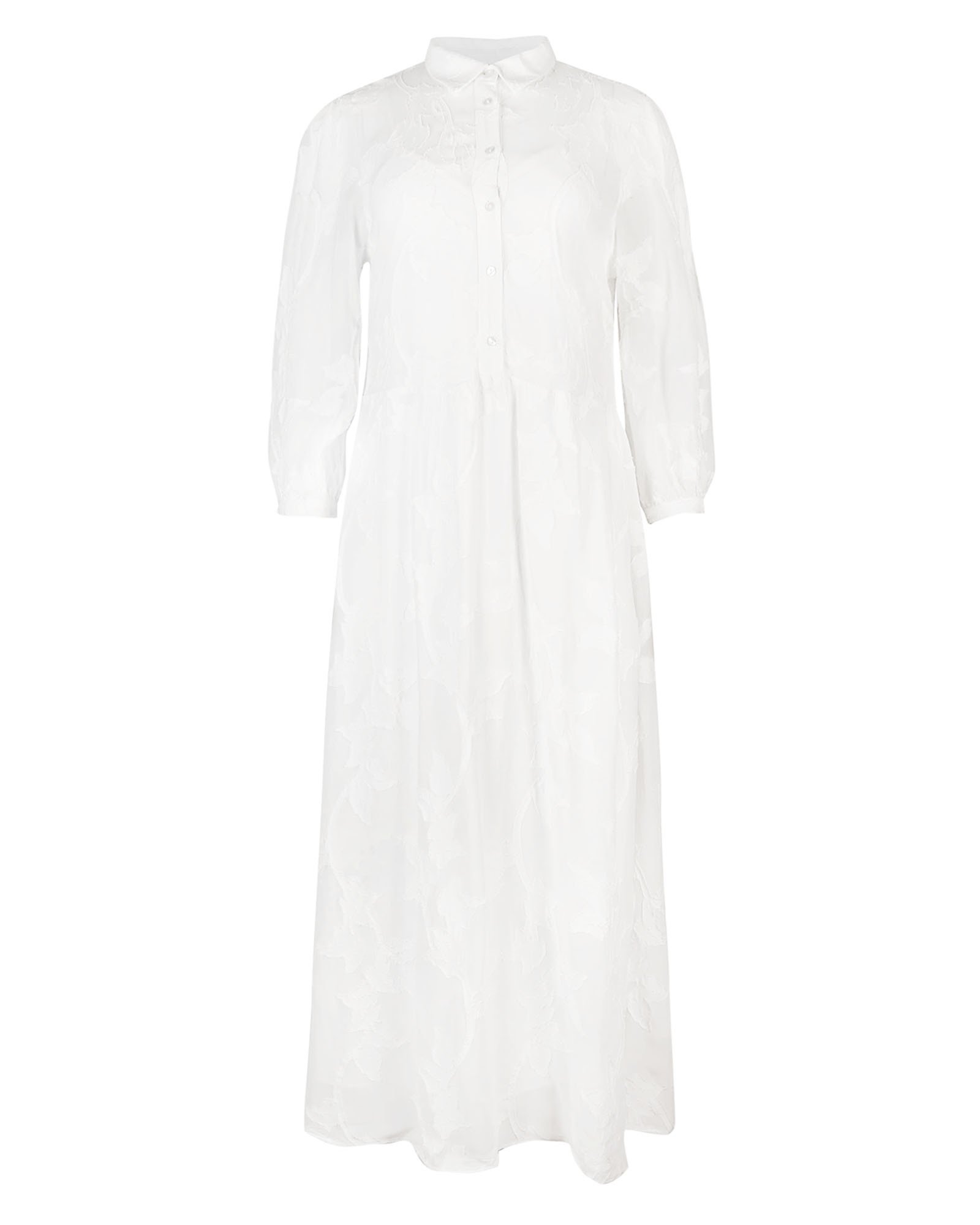 Floral Interest White Maxi Shirt Dress