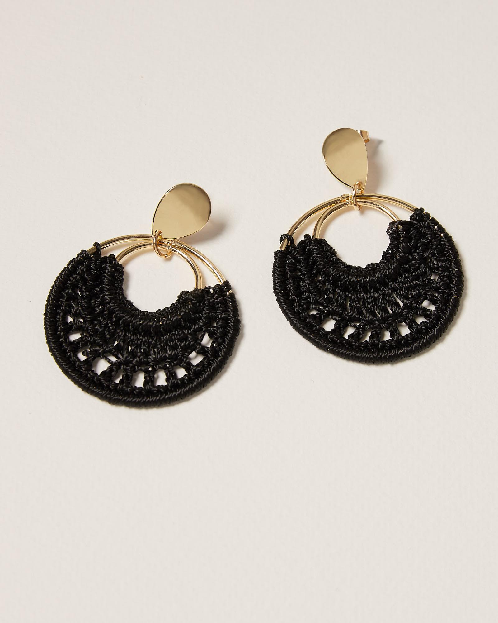 Crochet Hoop Drop Earrings