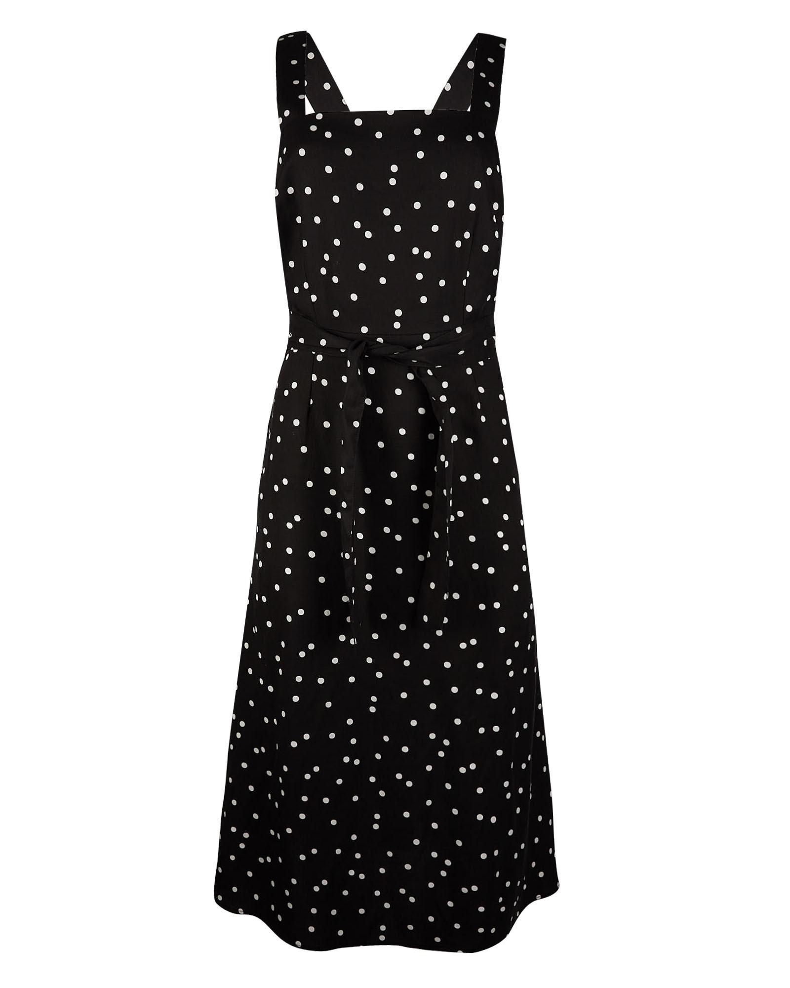Oliver Bonas Women Luxe Black Midi Pinafore Dress