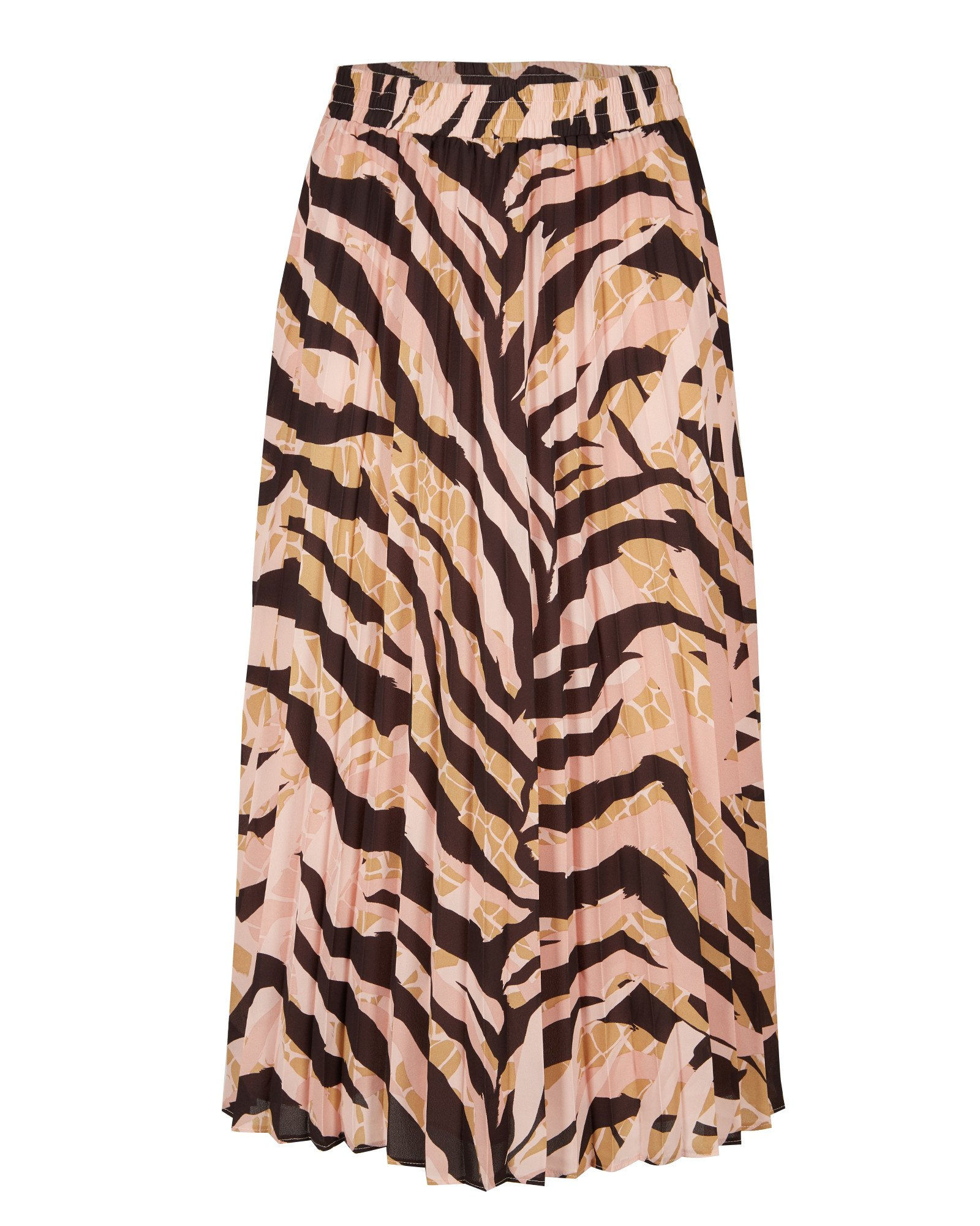 Earths Texture Zebra Print Pleated Midi Skirt