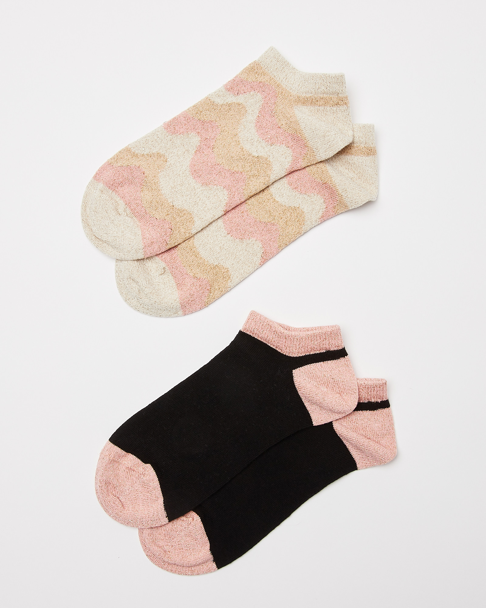 Wavy Striped Trainer Socks Pack of Two