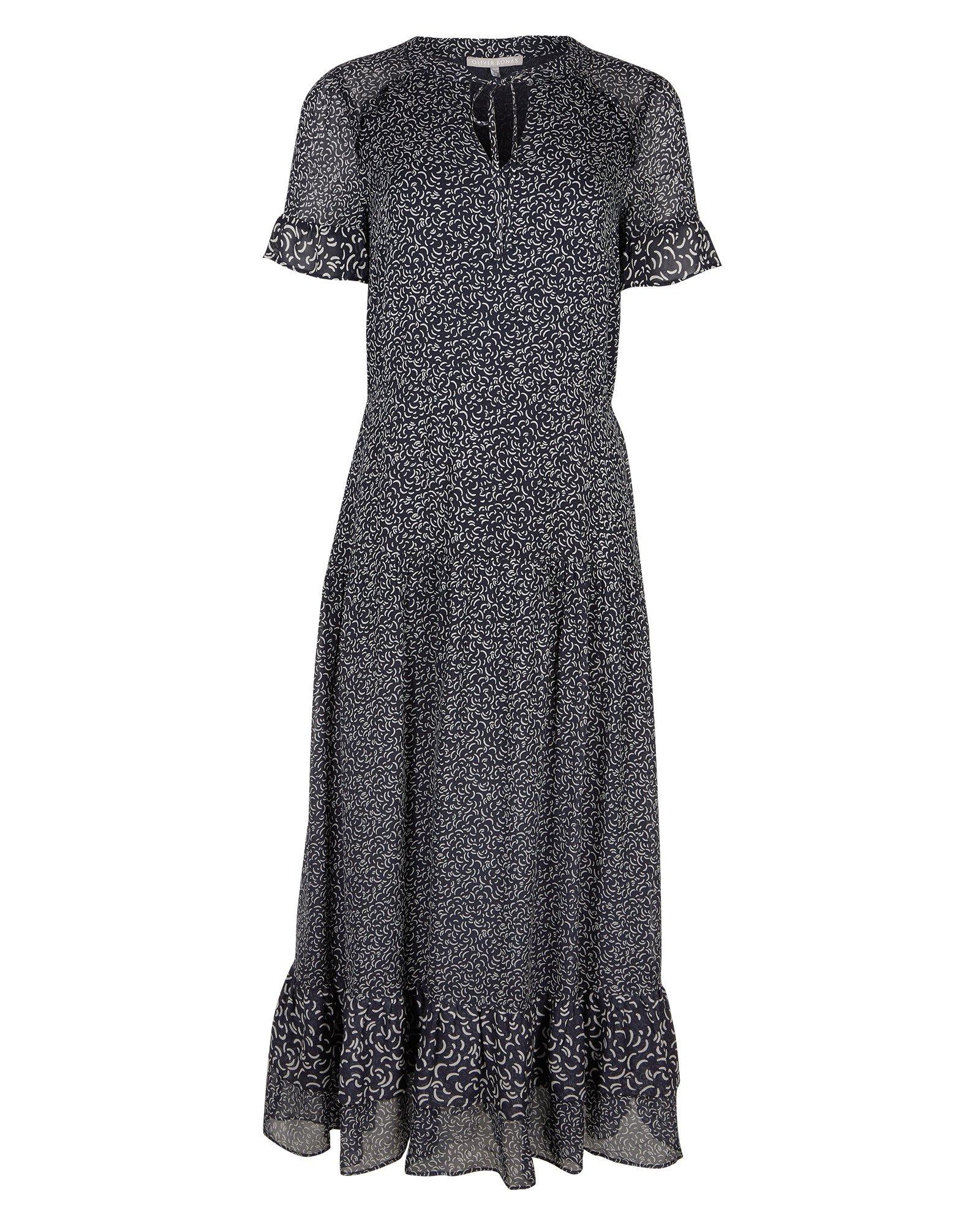 Timely Texture Blue Midi Dress