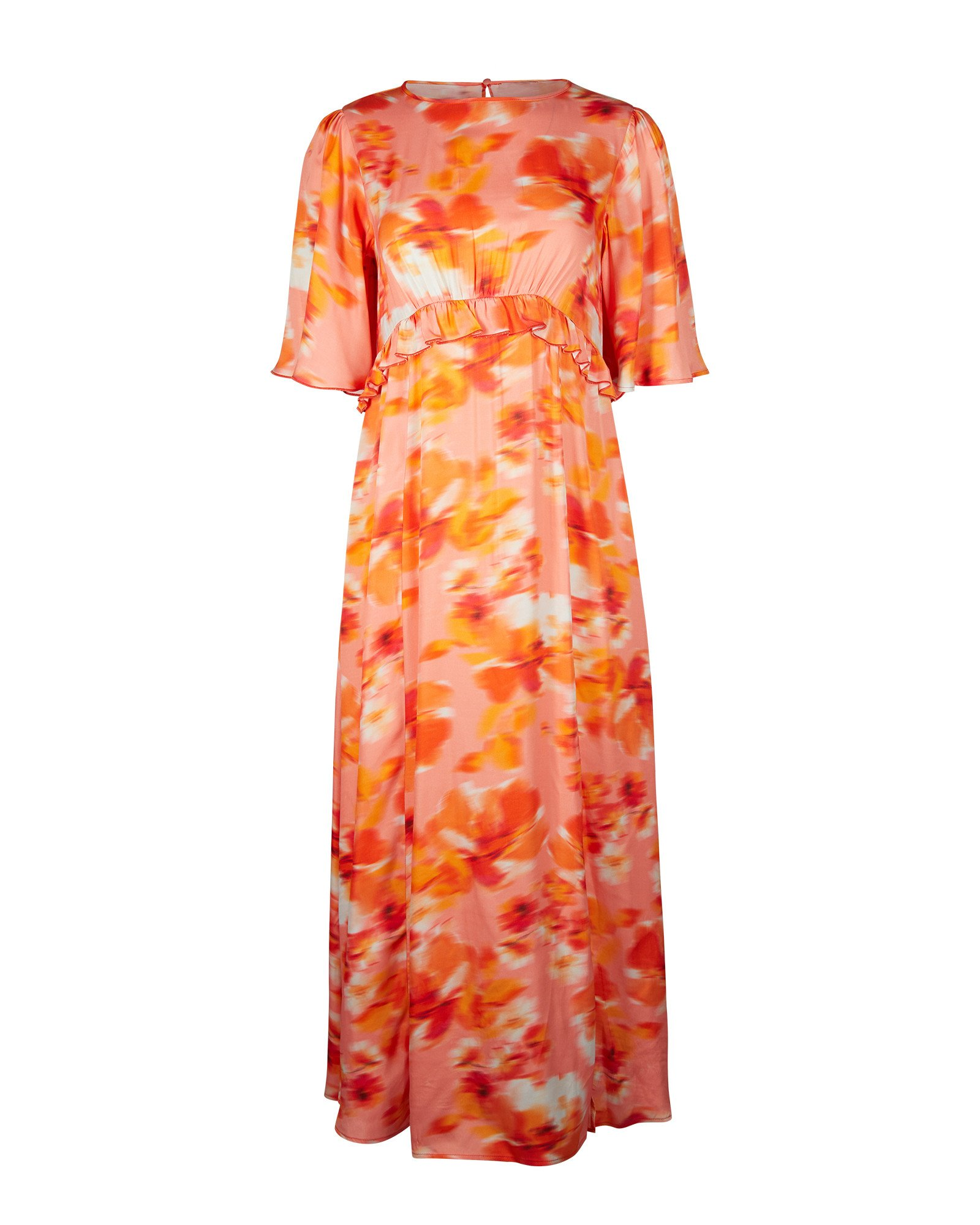 Blurred Floral Orange Satin Midi Dress