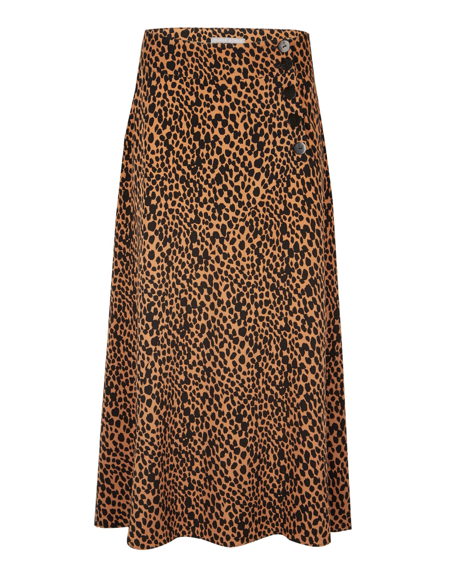 Animal Print Brown Button Detail Midi Skirt