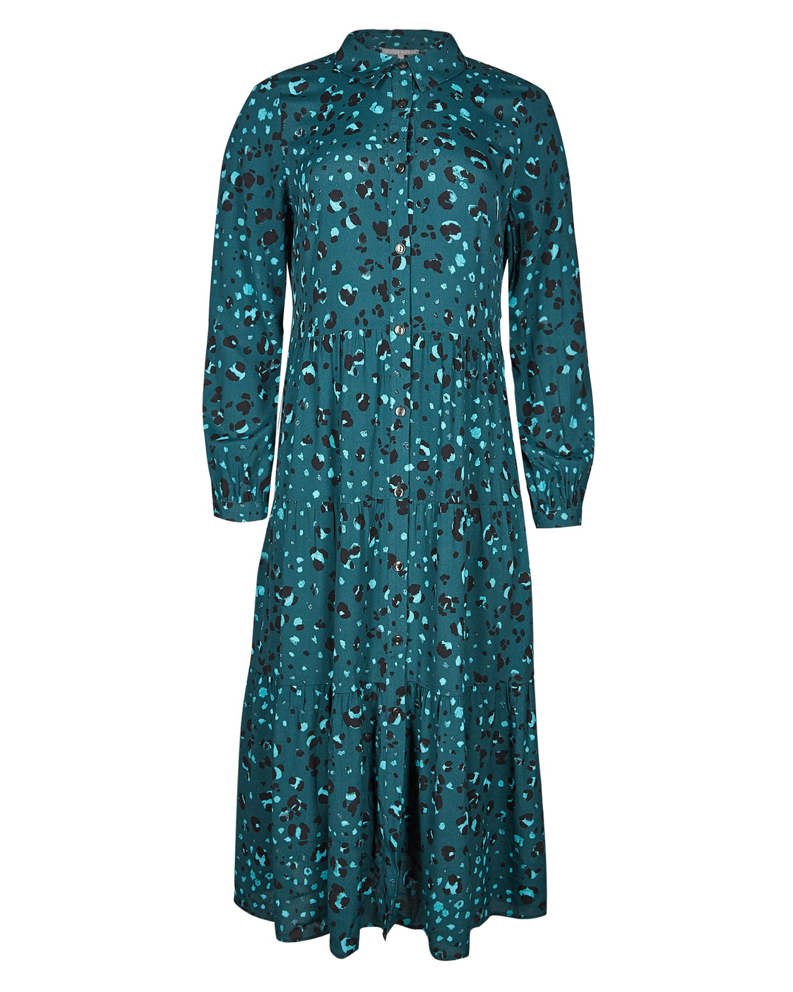 Snow Leopard Print Teal Blue Midi Shirt Dress