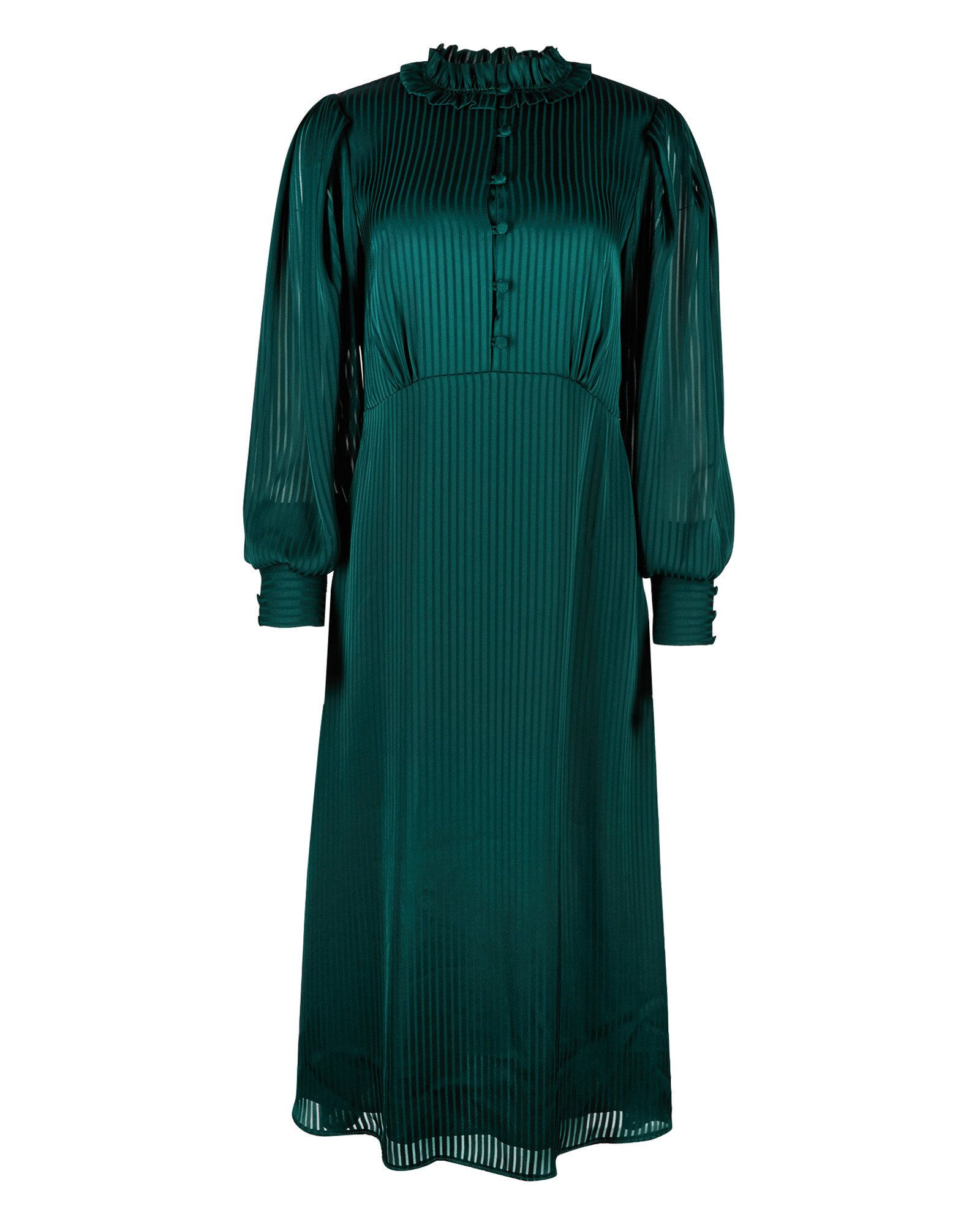 Jacquard Sheer Striped Green Midi Dress