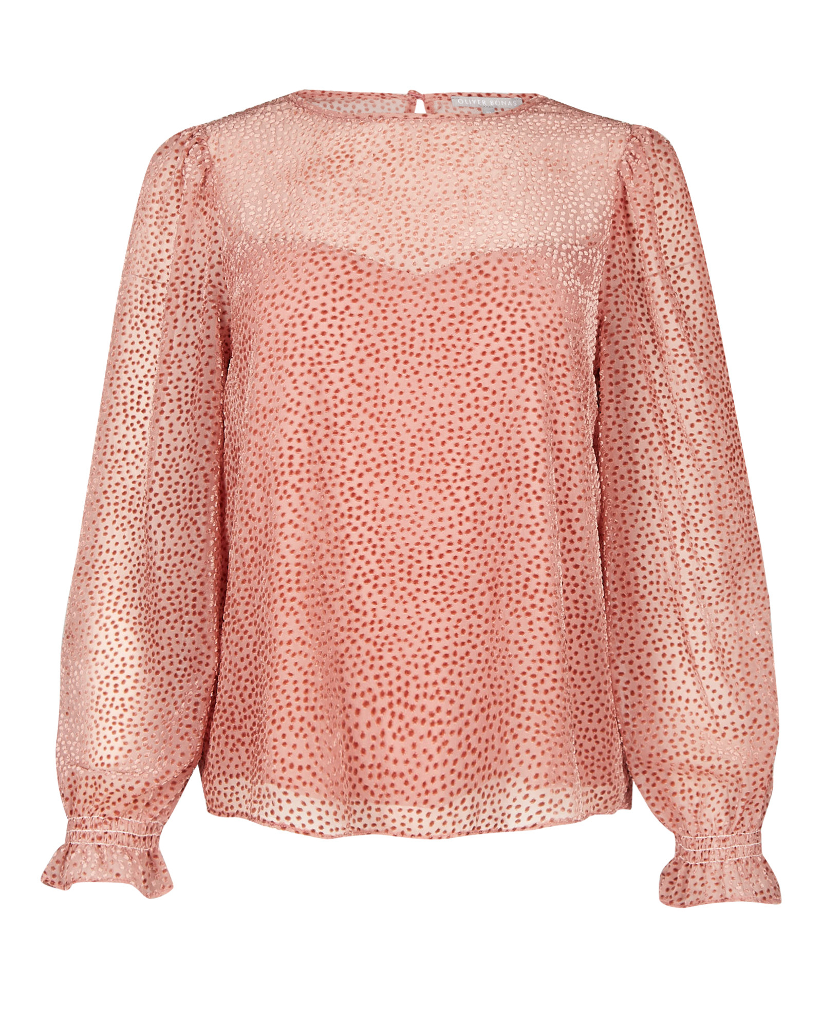 Flocked Spot Pink Long Sleeve Blouse
