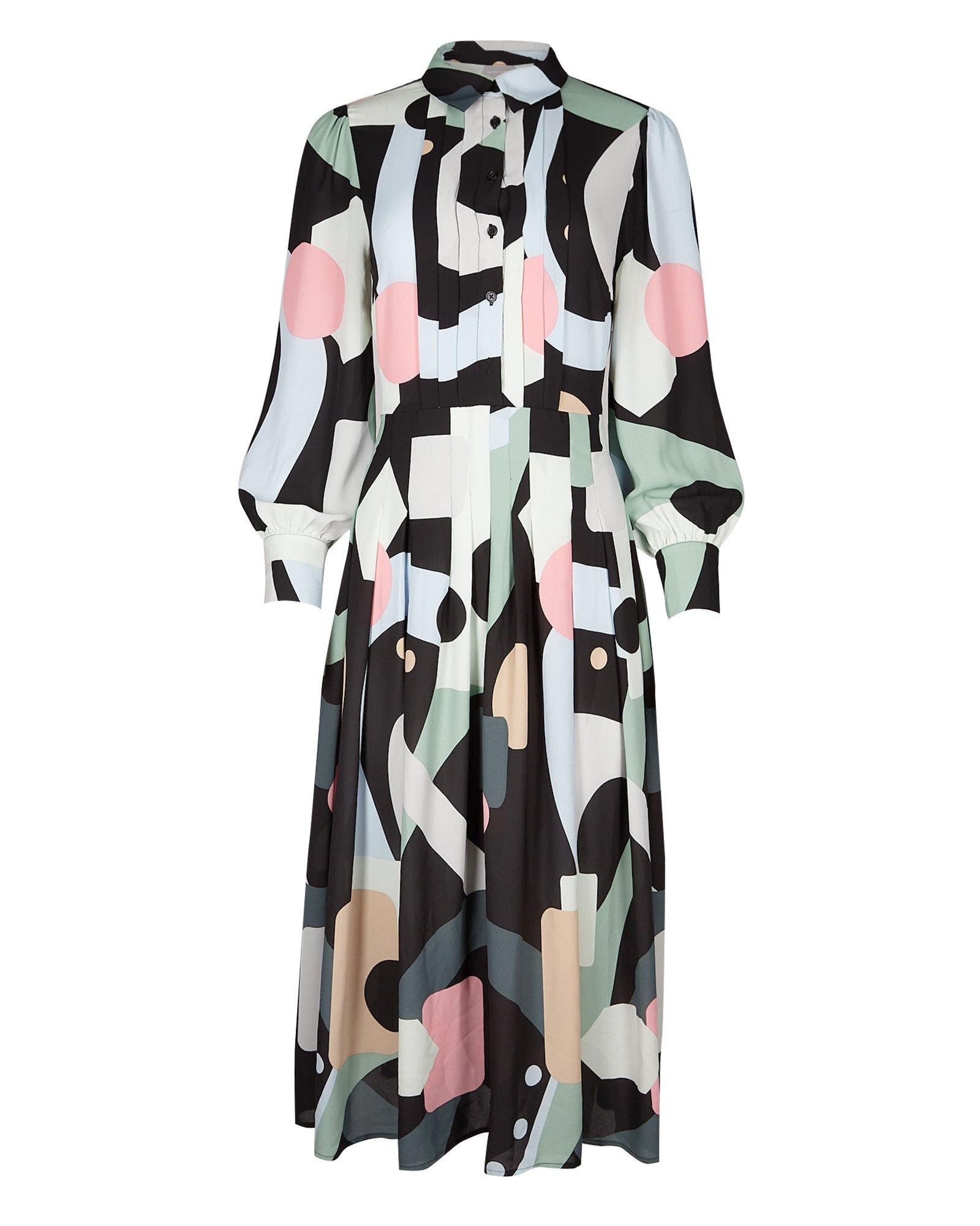 Abstract Print Black Midi Shirt Dress