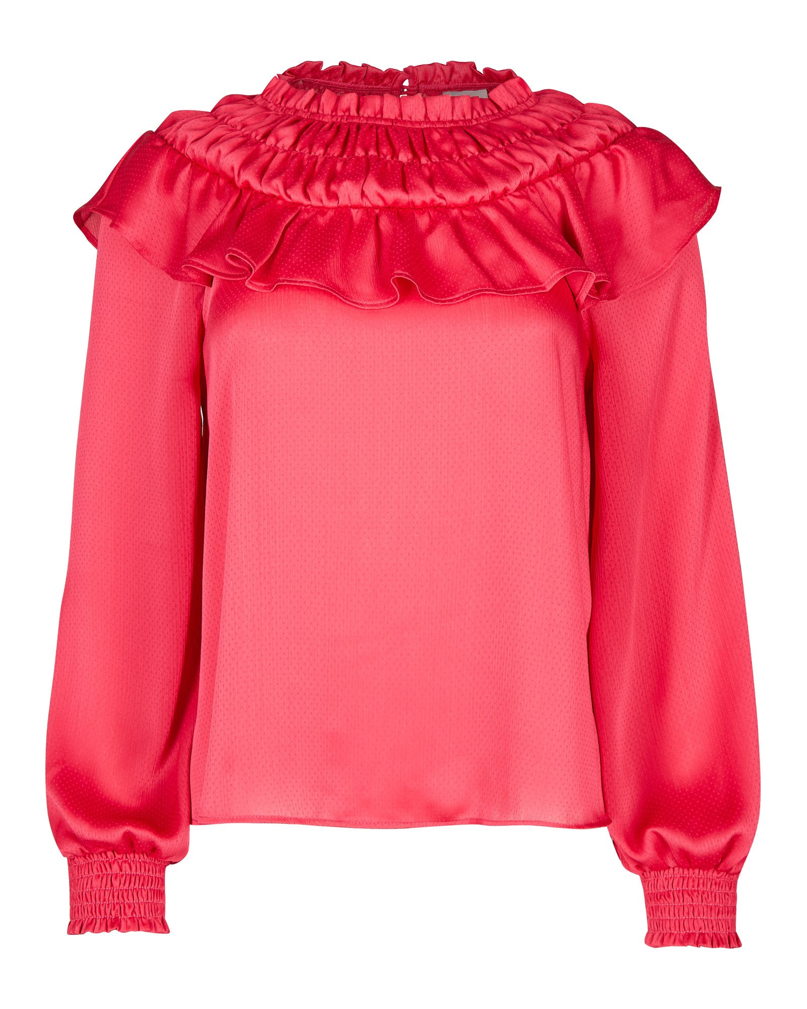 Frill Neck Pink Long Sleeve Blouse