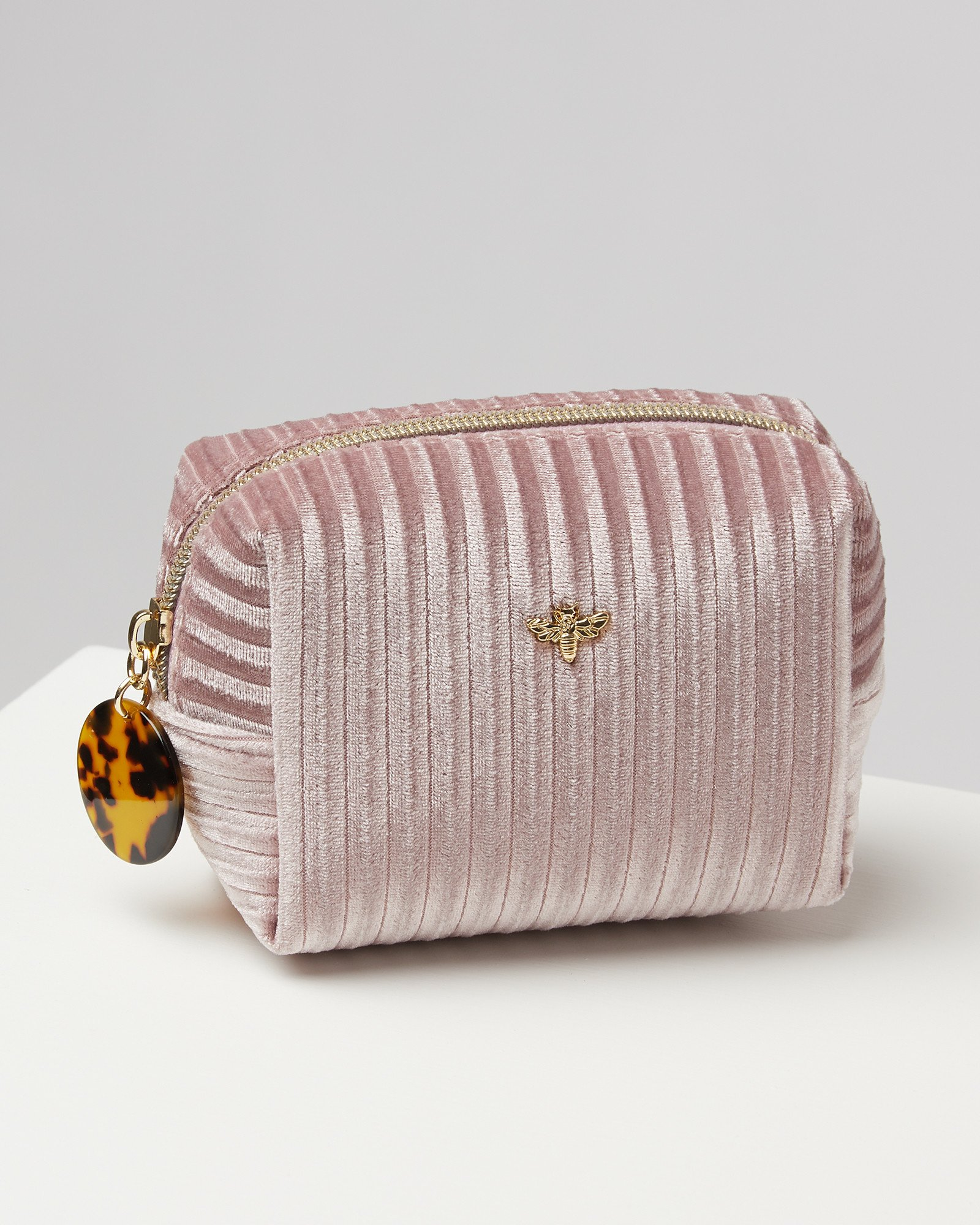 Pleated Velvet Pink Makeup Bag Extra