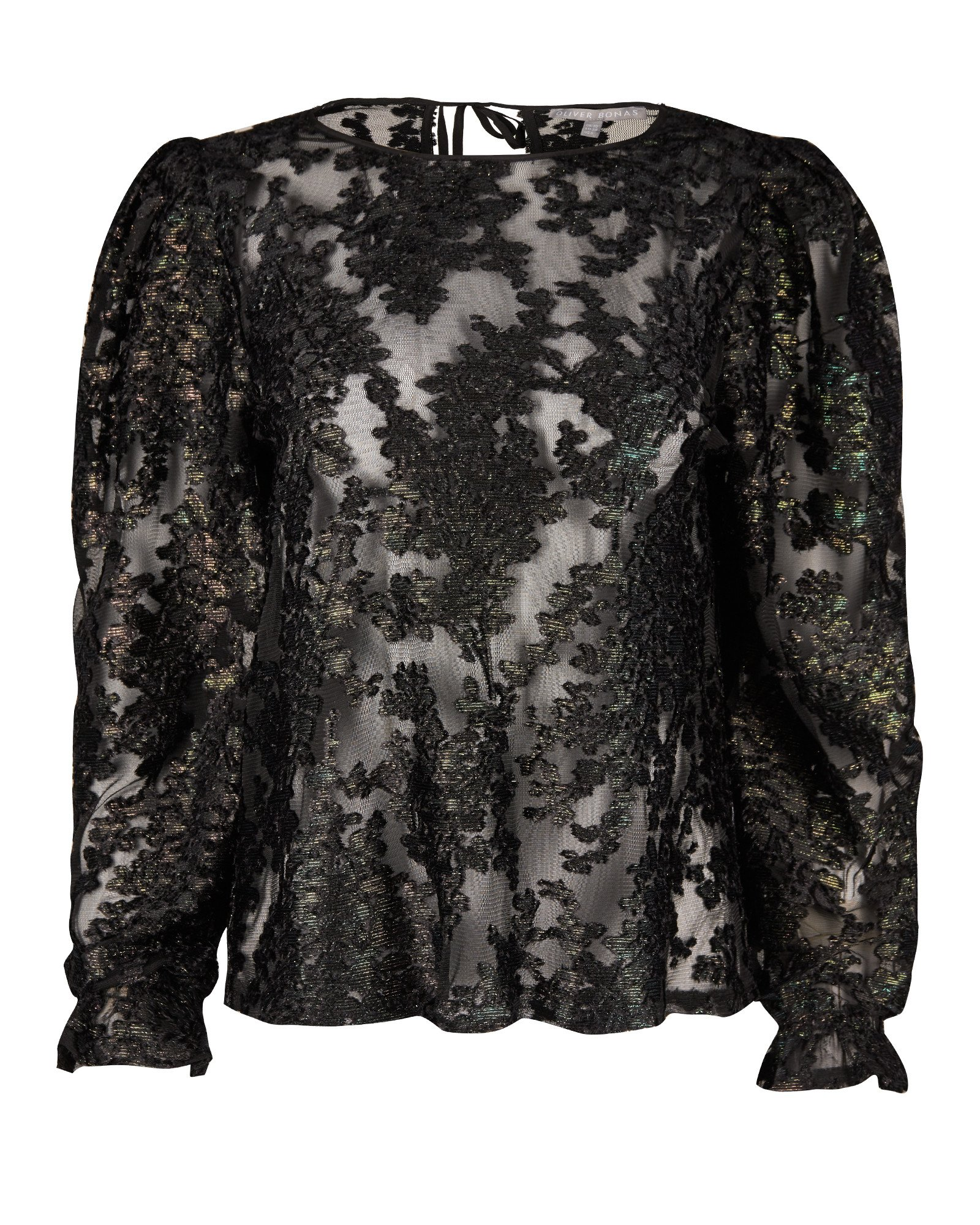 Floral Foil Mesh Green & Black Sheer Blouse