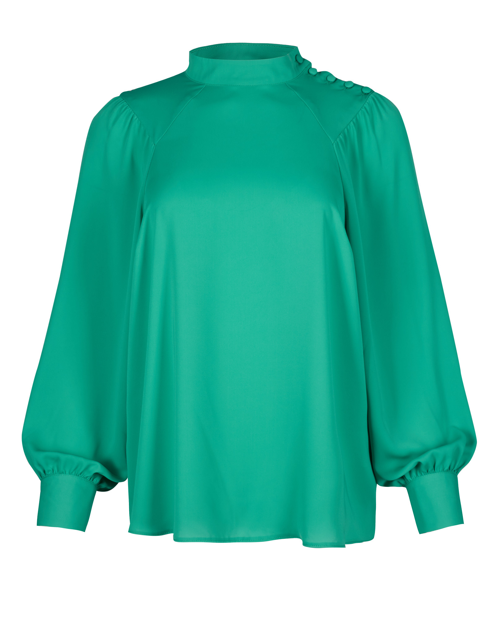 Draped Sleeve & Button Shoulder Green Blouse