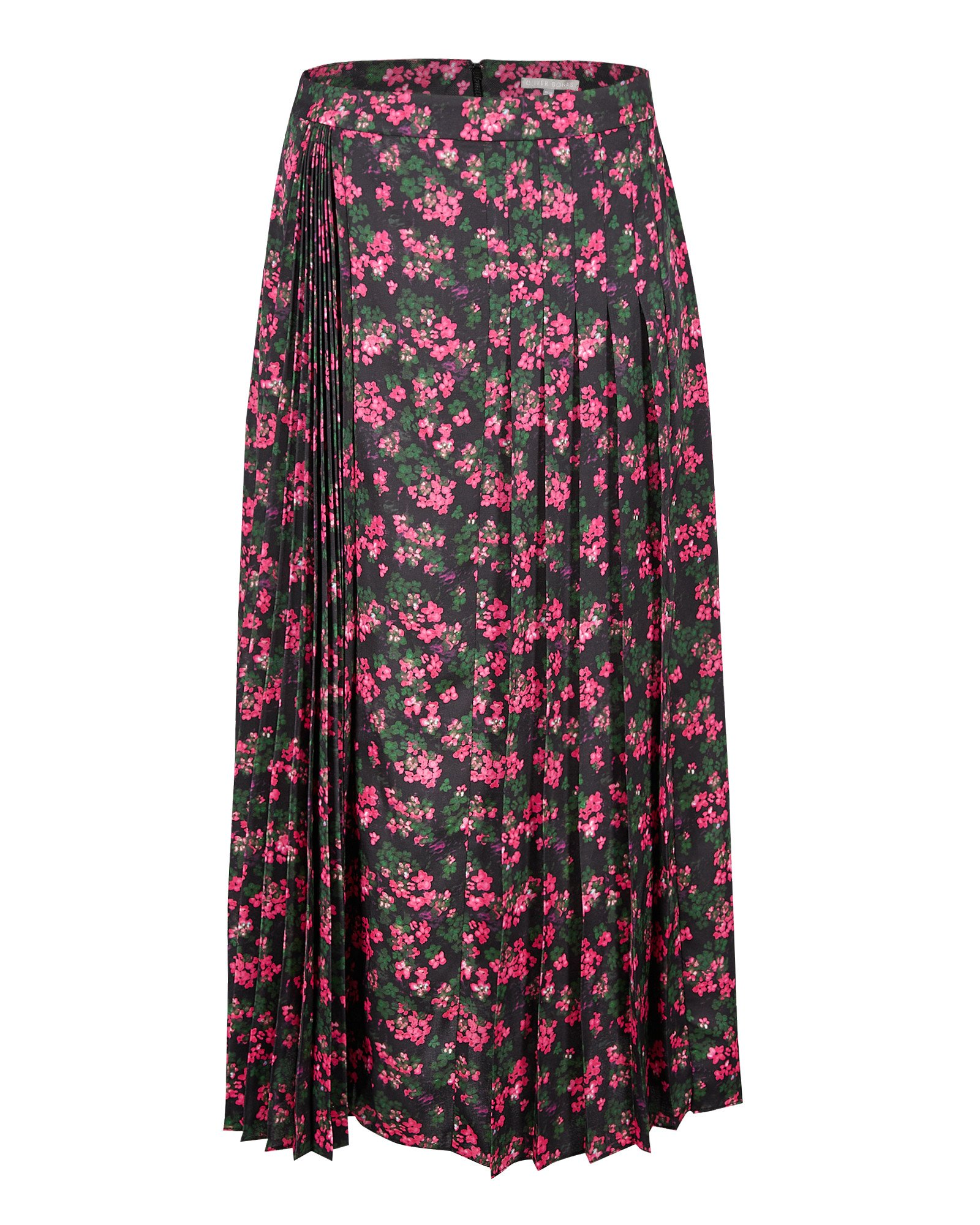 Ditsy Floral Print Pink & Black Pleated Midi Skirt