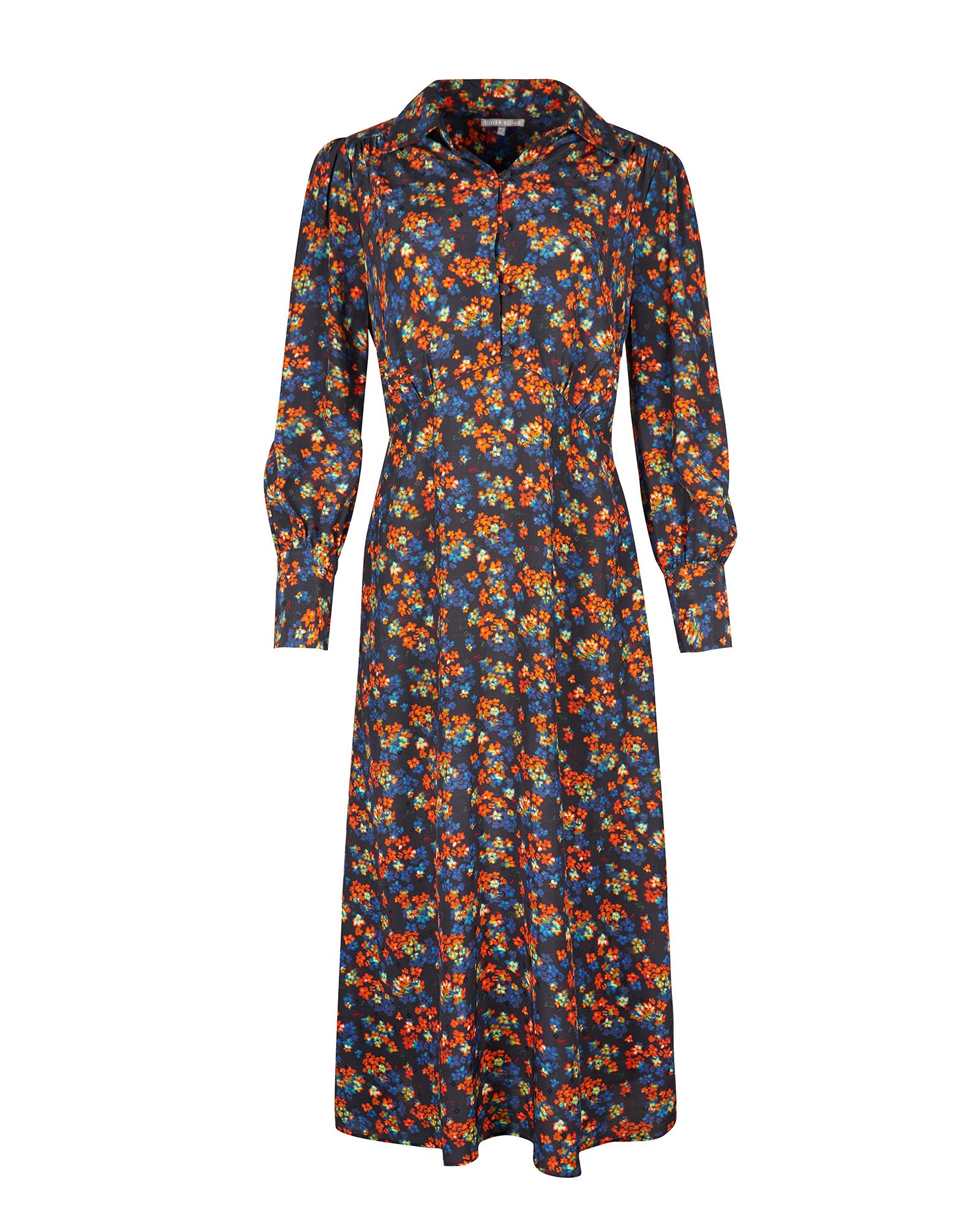 Ditsy Floral Orange & Black Midi Shirt Dress
