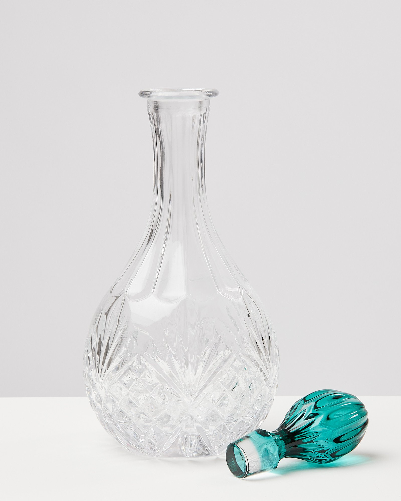 SALE Clear Glass Decanter Heavy Glass